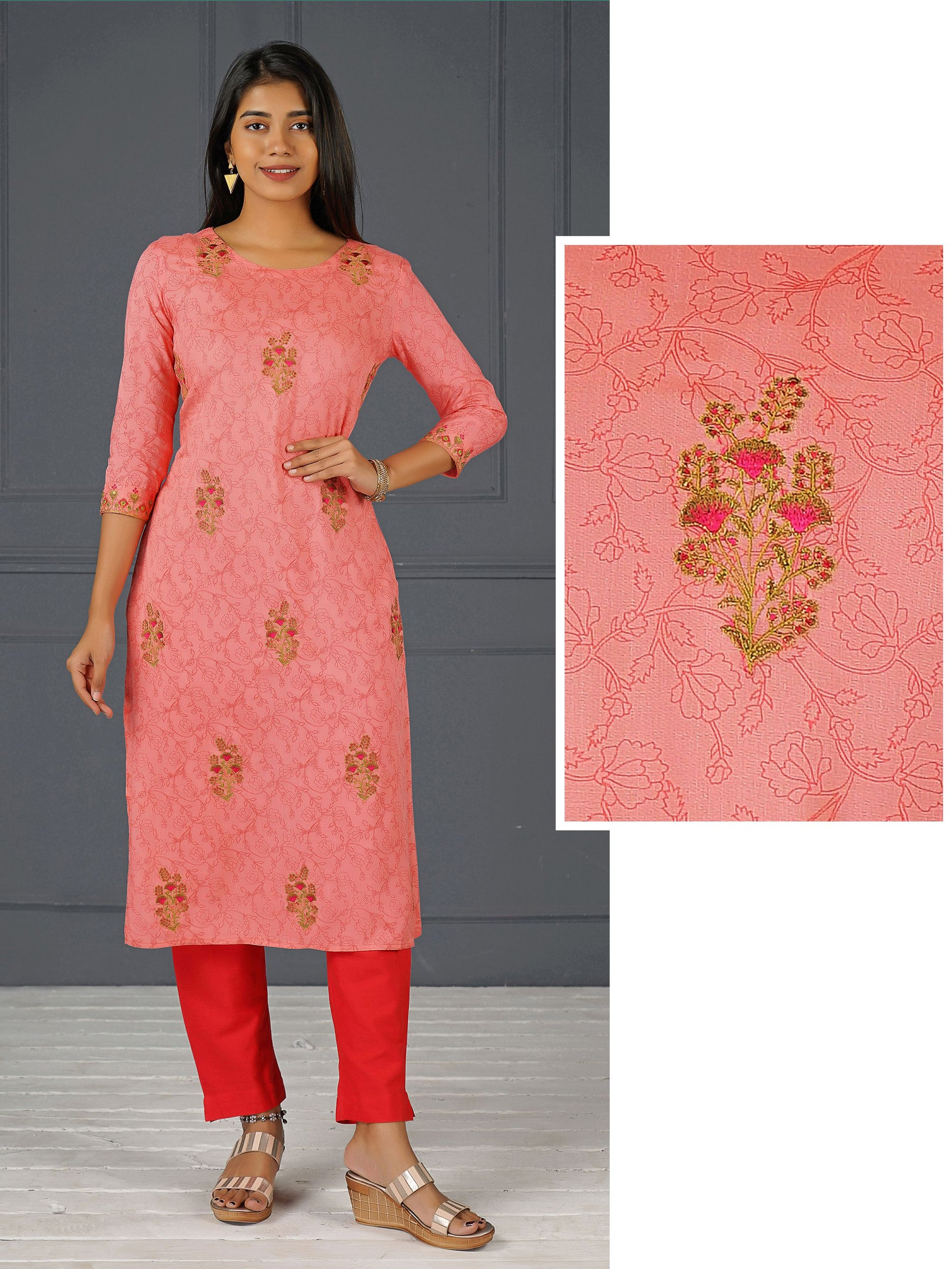 Machine Embroidered & Floral Printed Cotton Kurti – Peach