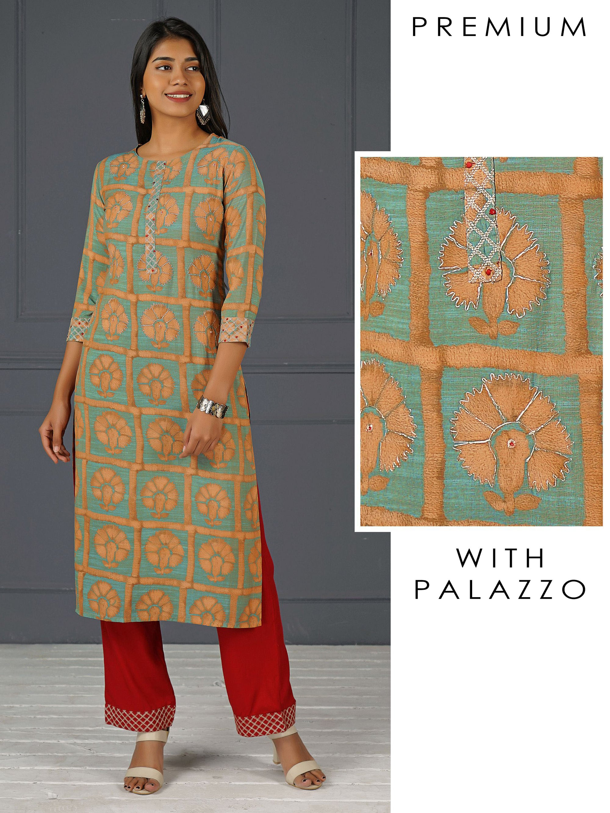Cord Embroidered Kurti & Zari Embroidered Palazzo Set