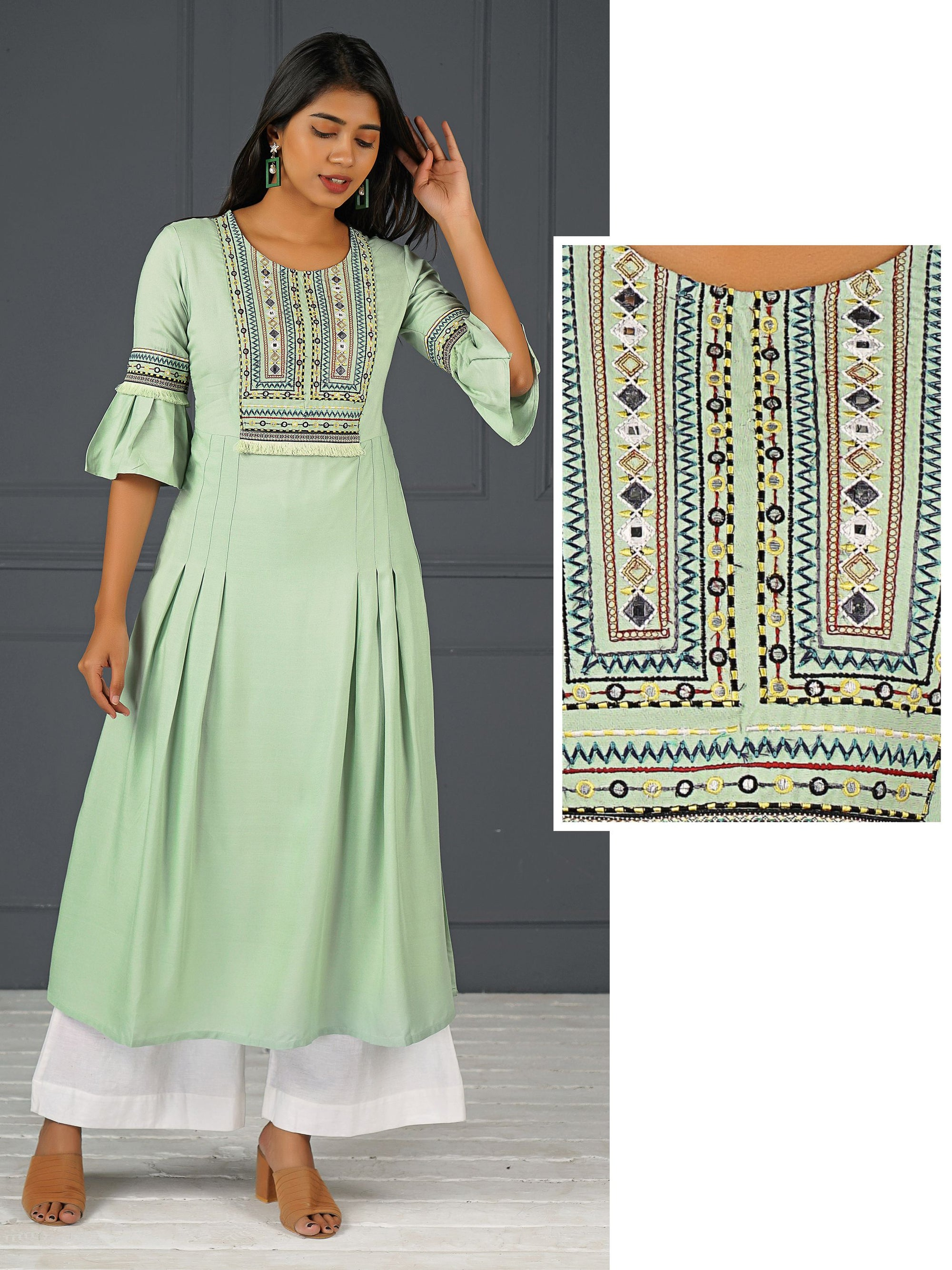 Tribal Embroidered & Ruffle Sleeves Kurti