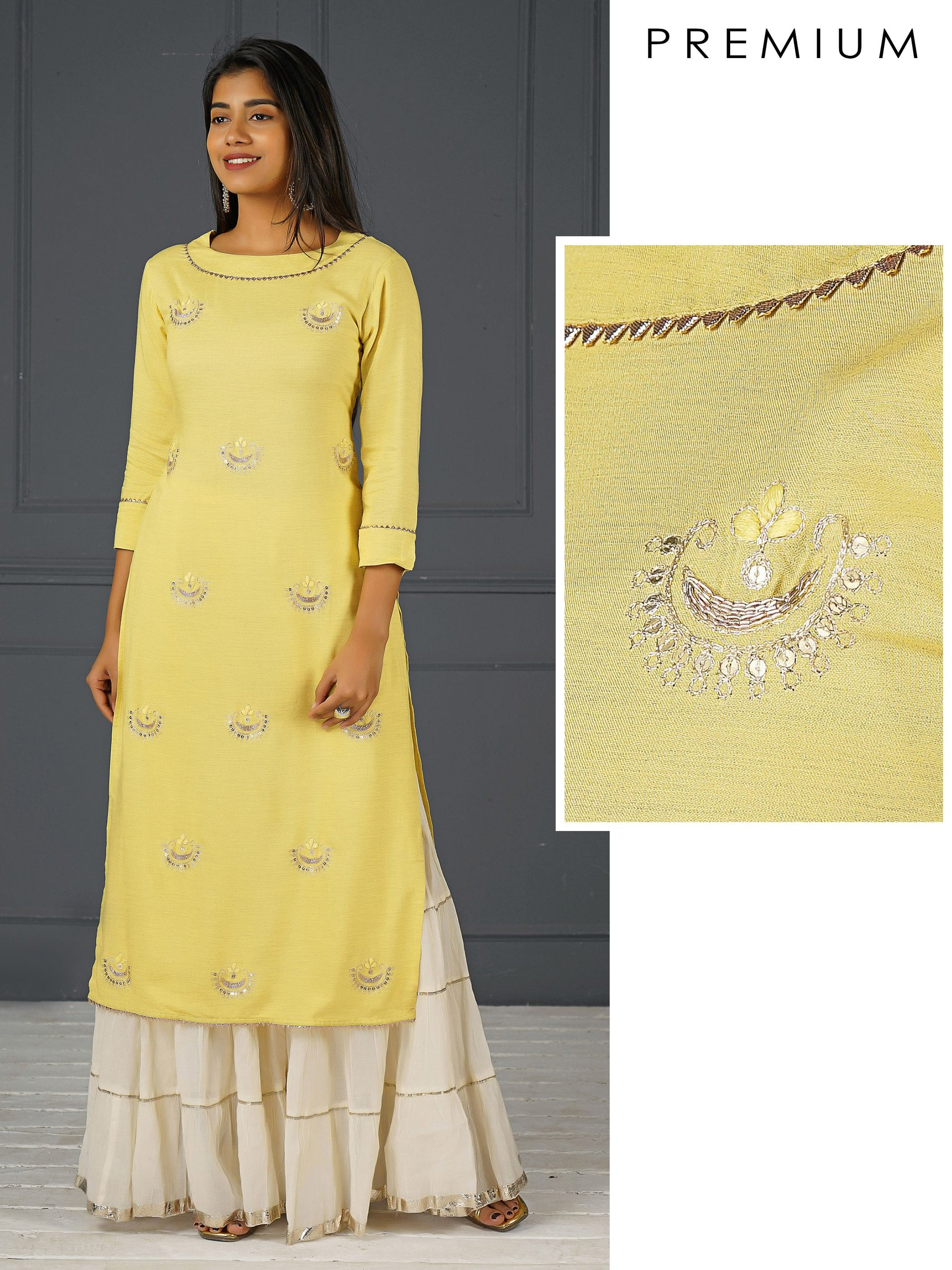 Chand Embroidered & Gota Laced Cotton Kurti