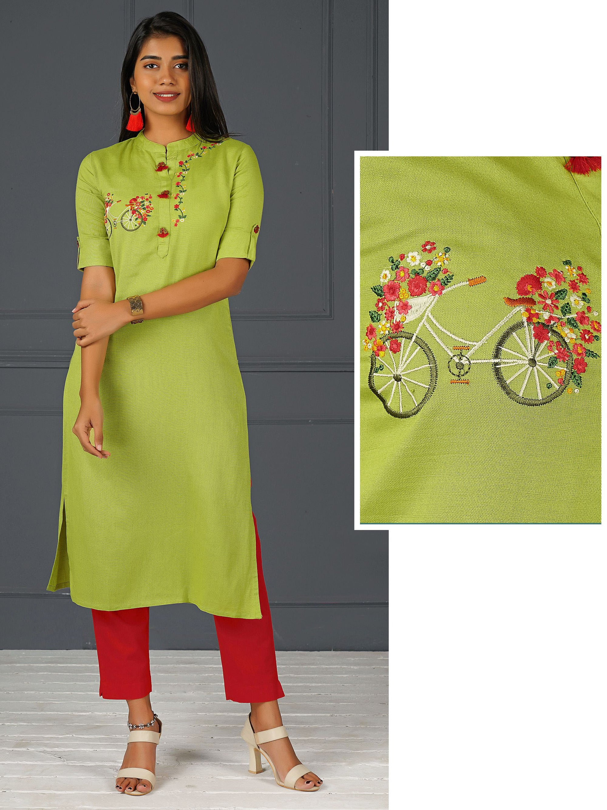 Cycle & Minimal Floral Embroidered Kurti