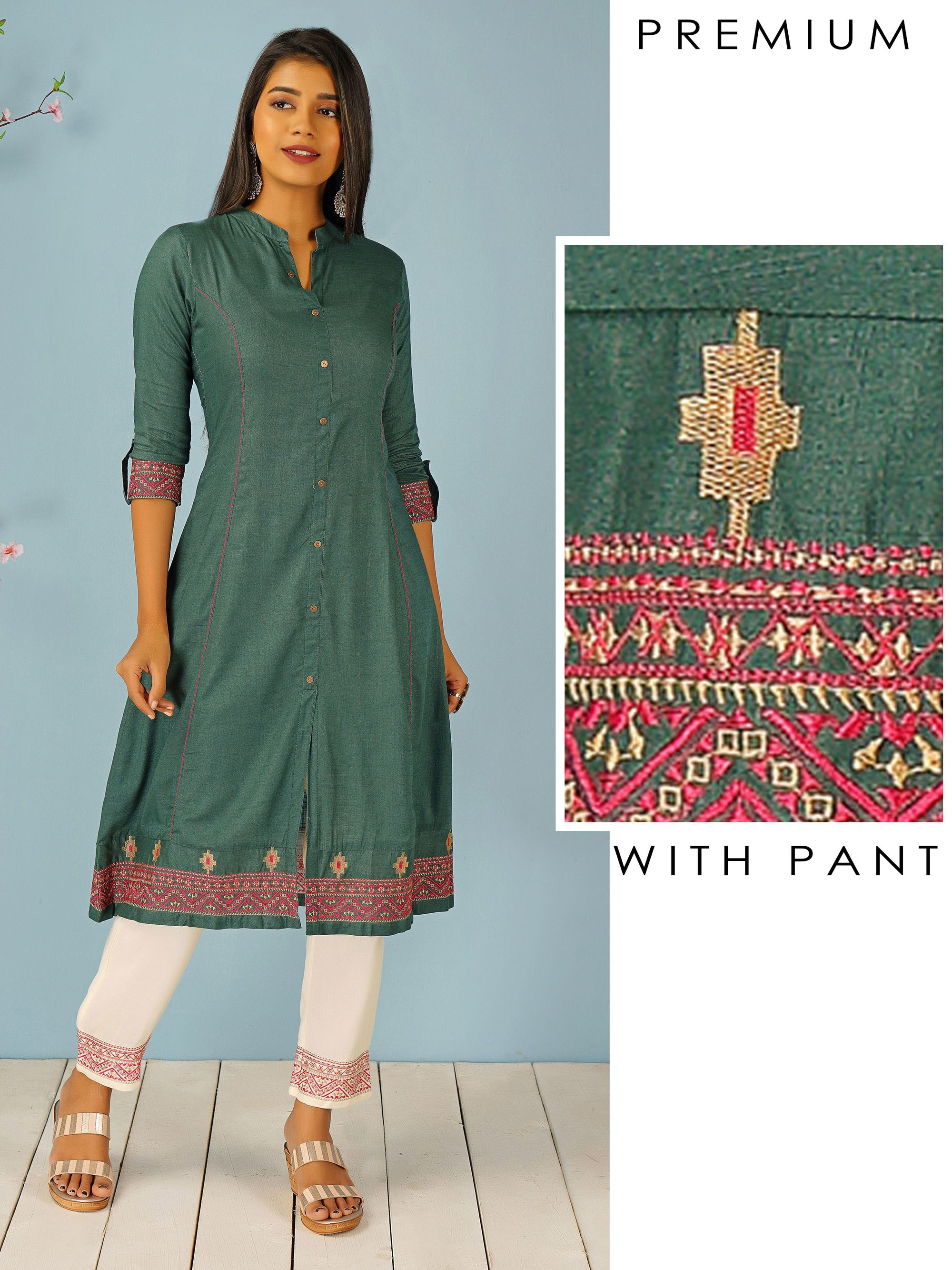 Tribal Embroidered Kurti & Minimal Embroidered Pant Set
