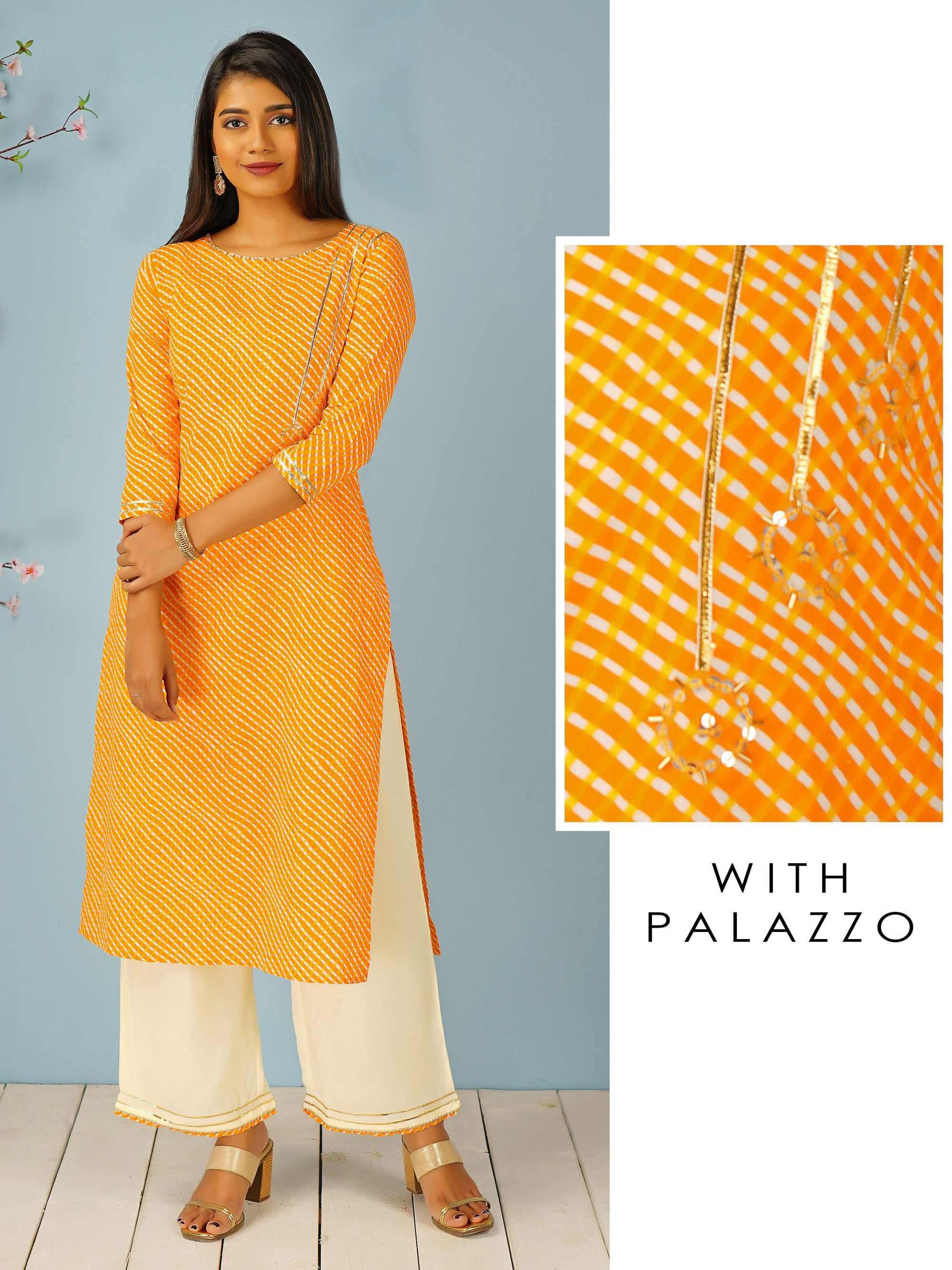 Regimental Striped Kurti & Temple Gota Worked Palazzo Set - Yellow