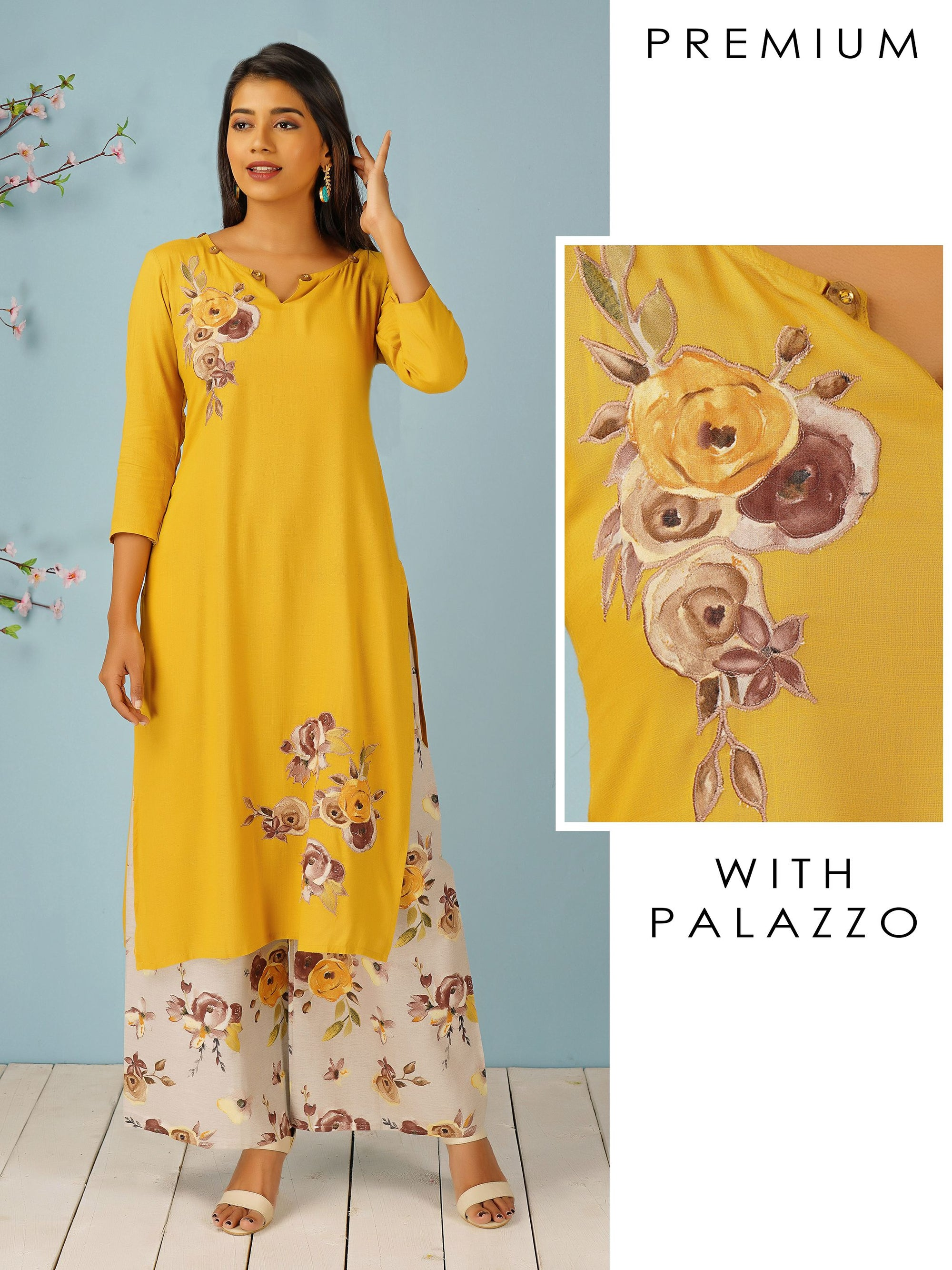 Floral Applique Worked Kurti & Floral Printed Palazzo Set