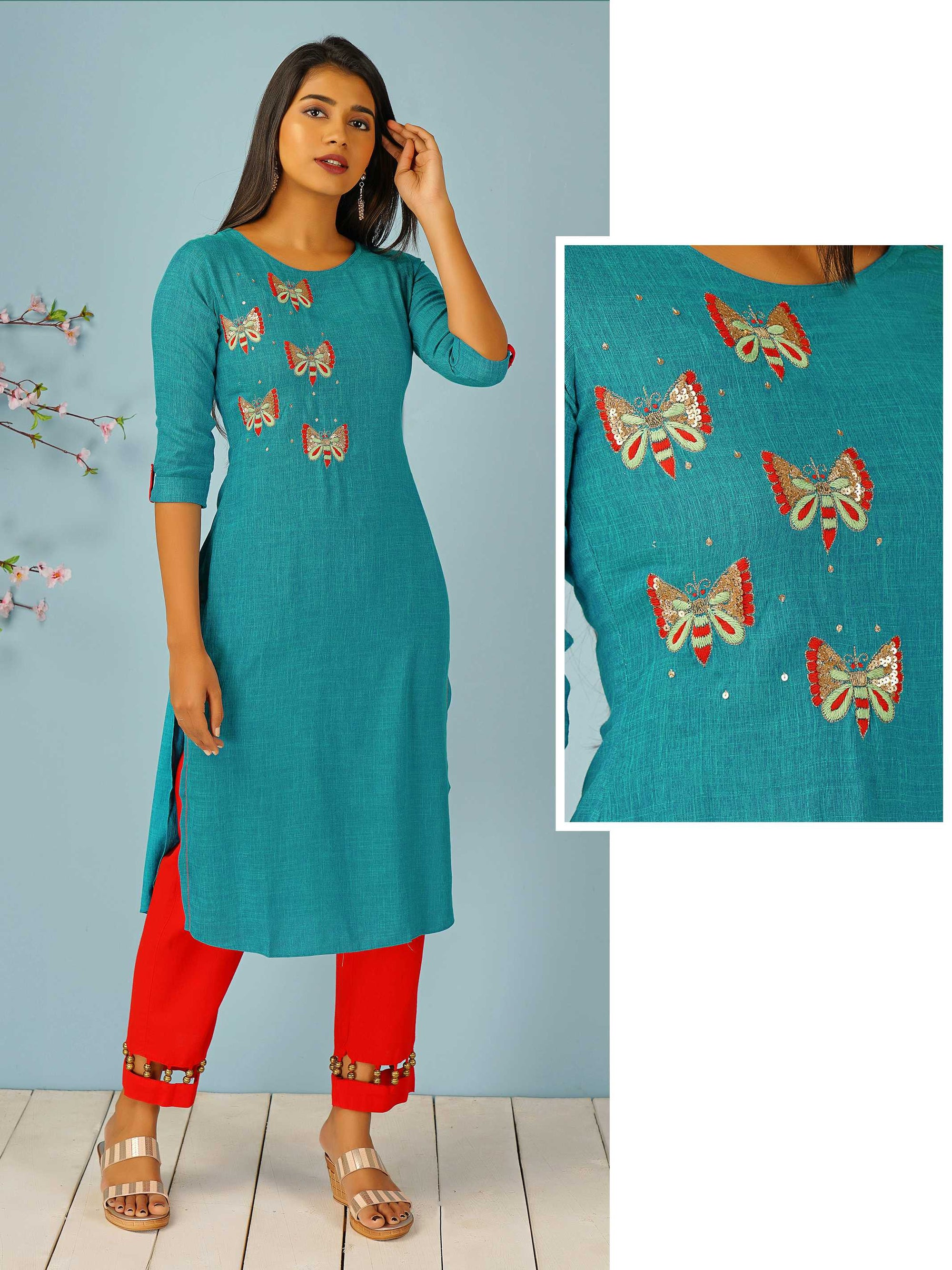 Butterfly Embroidered Dual Toned Kurti – Turquoise Blue