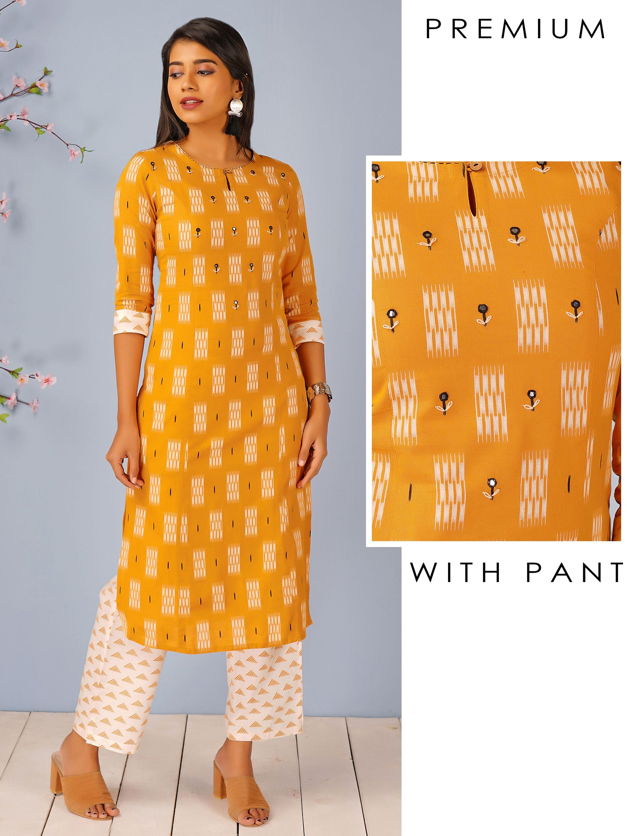 Ikkat & Geometric Printed Kurti & Triangle Printed Pant Set - Mustard Yellow