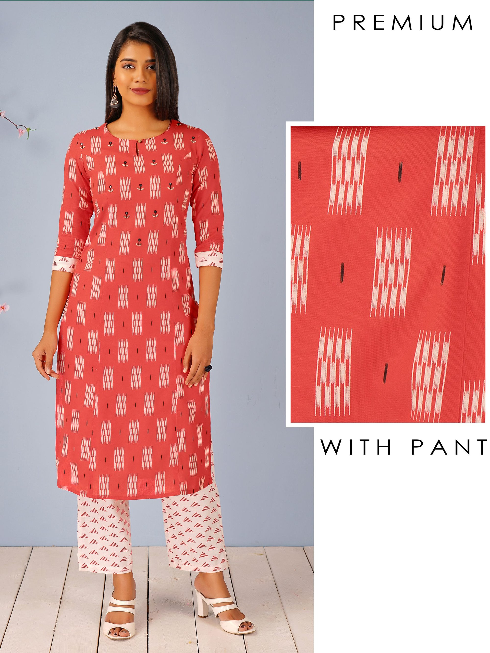 Ikkat & Geometric Printed Kurti & Triangle Printed Pant Set – Orange