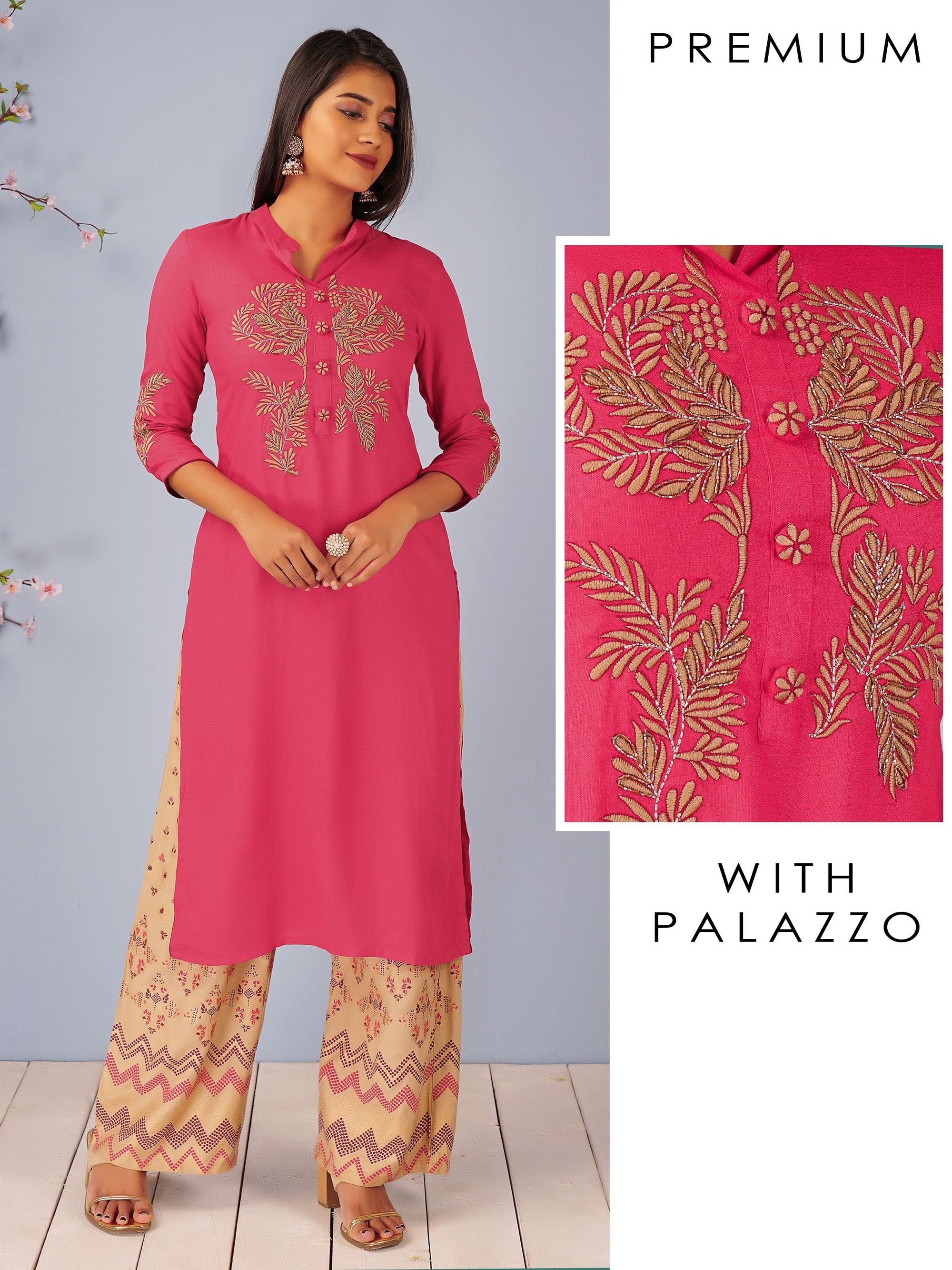 Machine Embroidered Kurti & Foil Printed Palazzo Set
