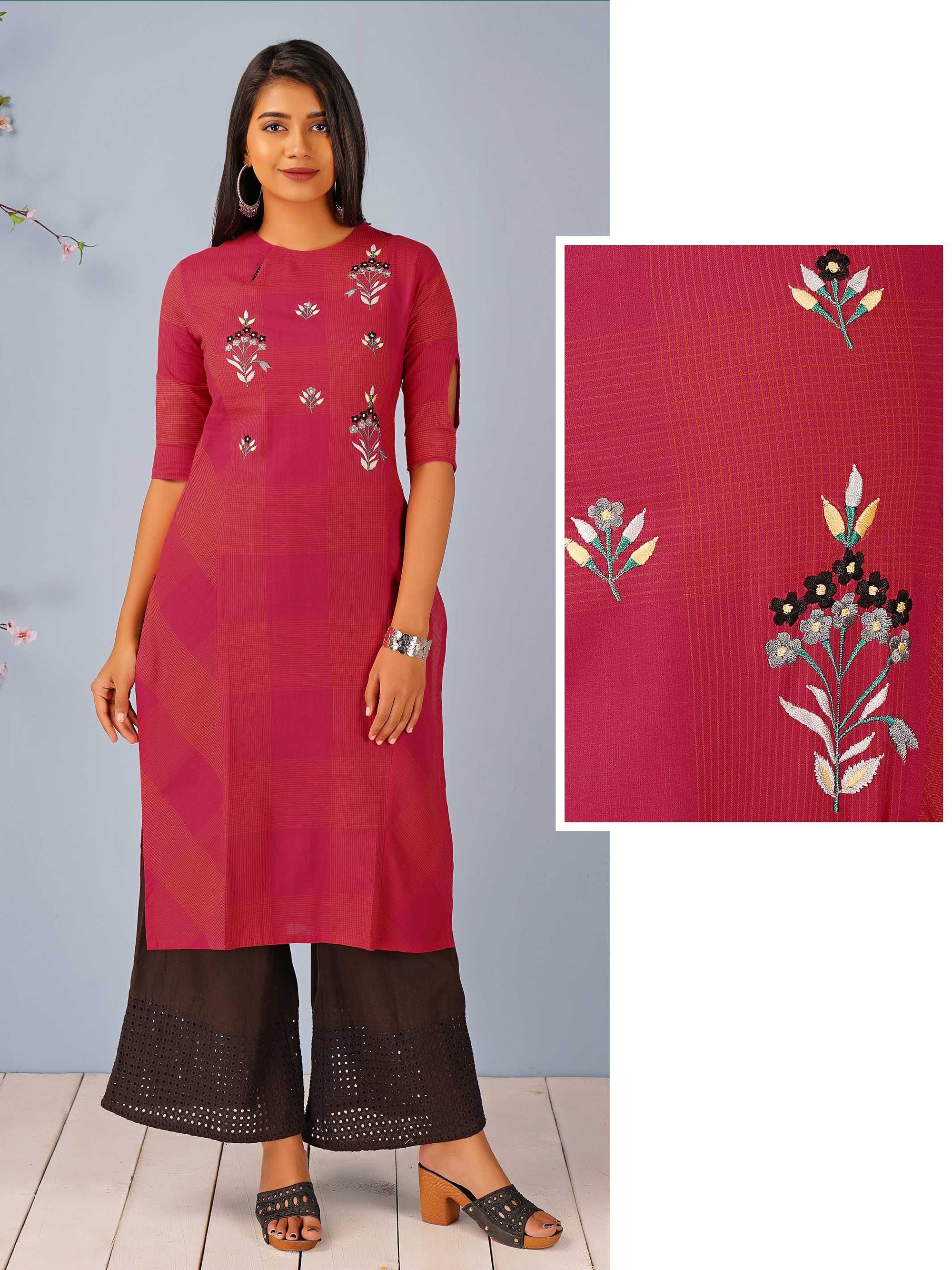 Minimal Floral Embroidered Key Hole Neck Kurti