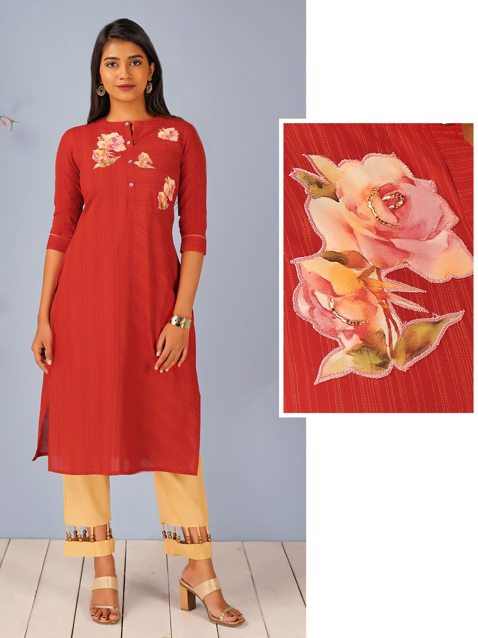 Floral Applique & Pin Striped Kurti