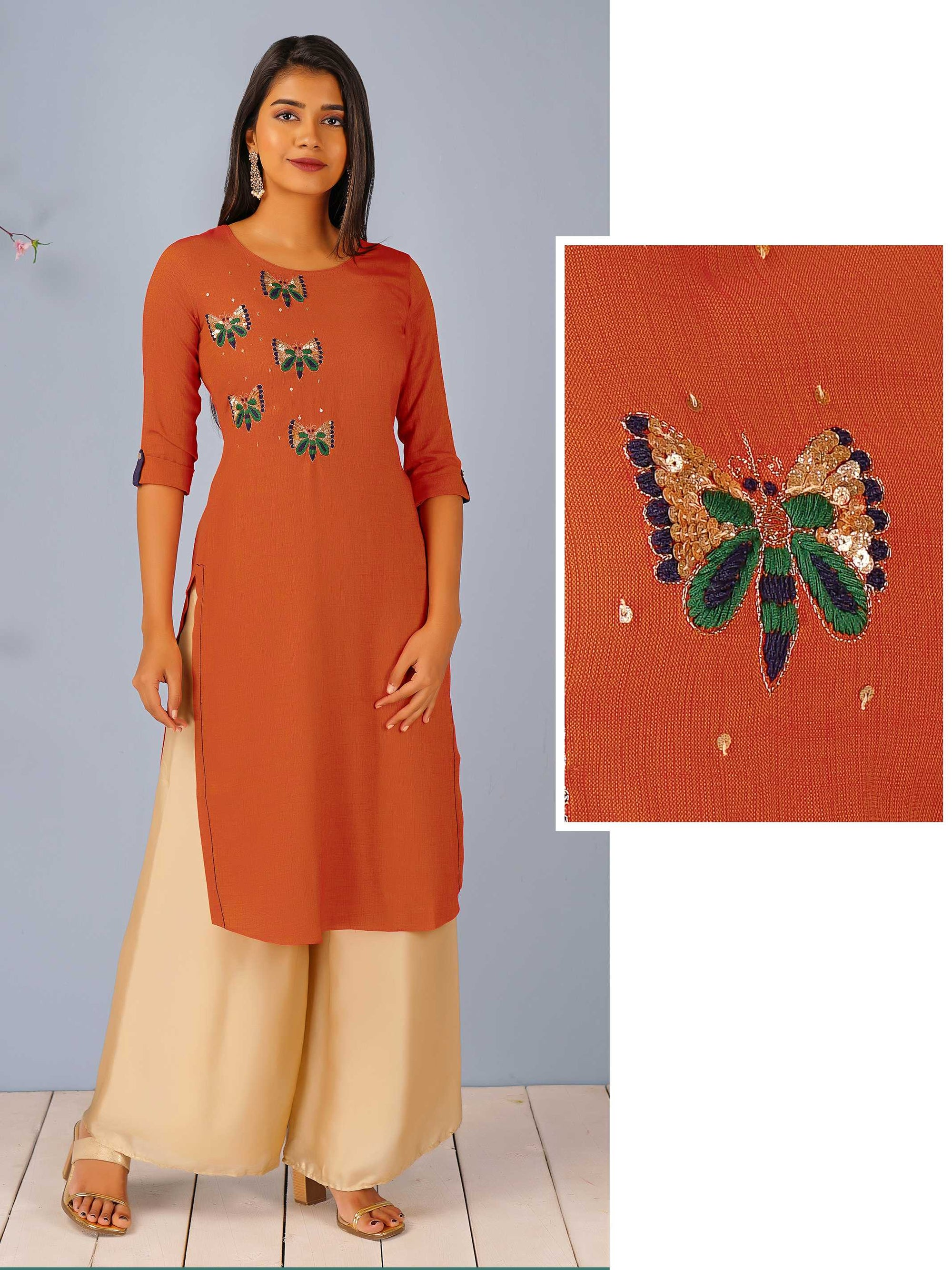 Butterfly Embroidered Dual Toned Kurti – Rust Orange
