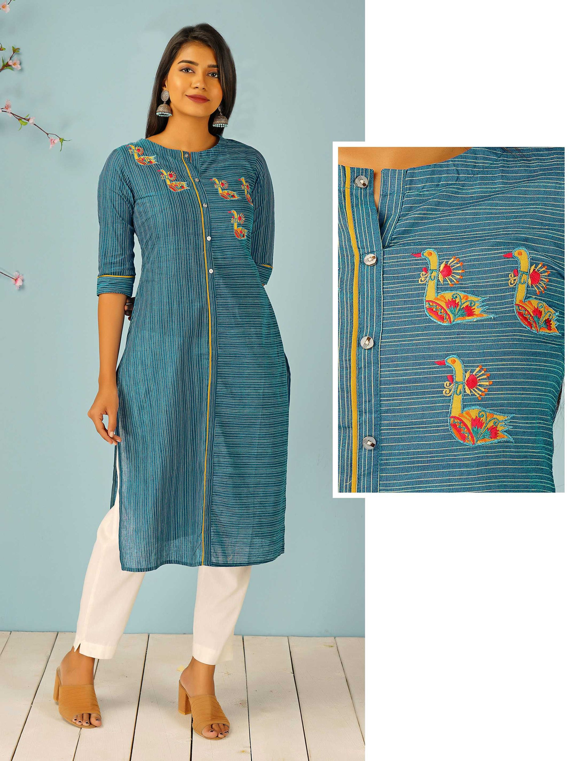 Bird Embroidered & Pin Striped Kurti