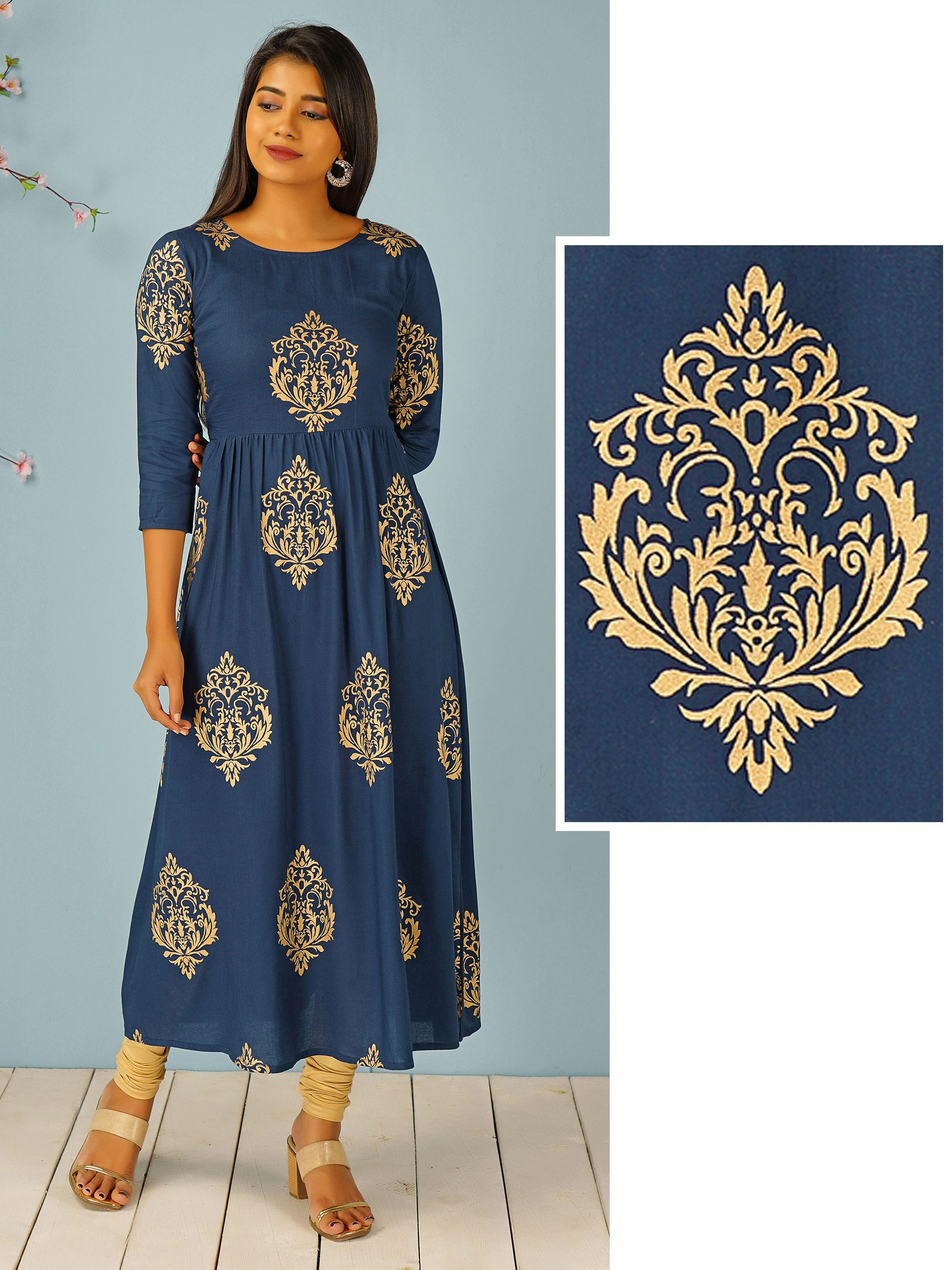 Foil Mughal Printed Maxi – Navy Blue
