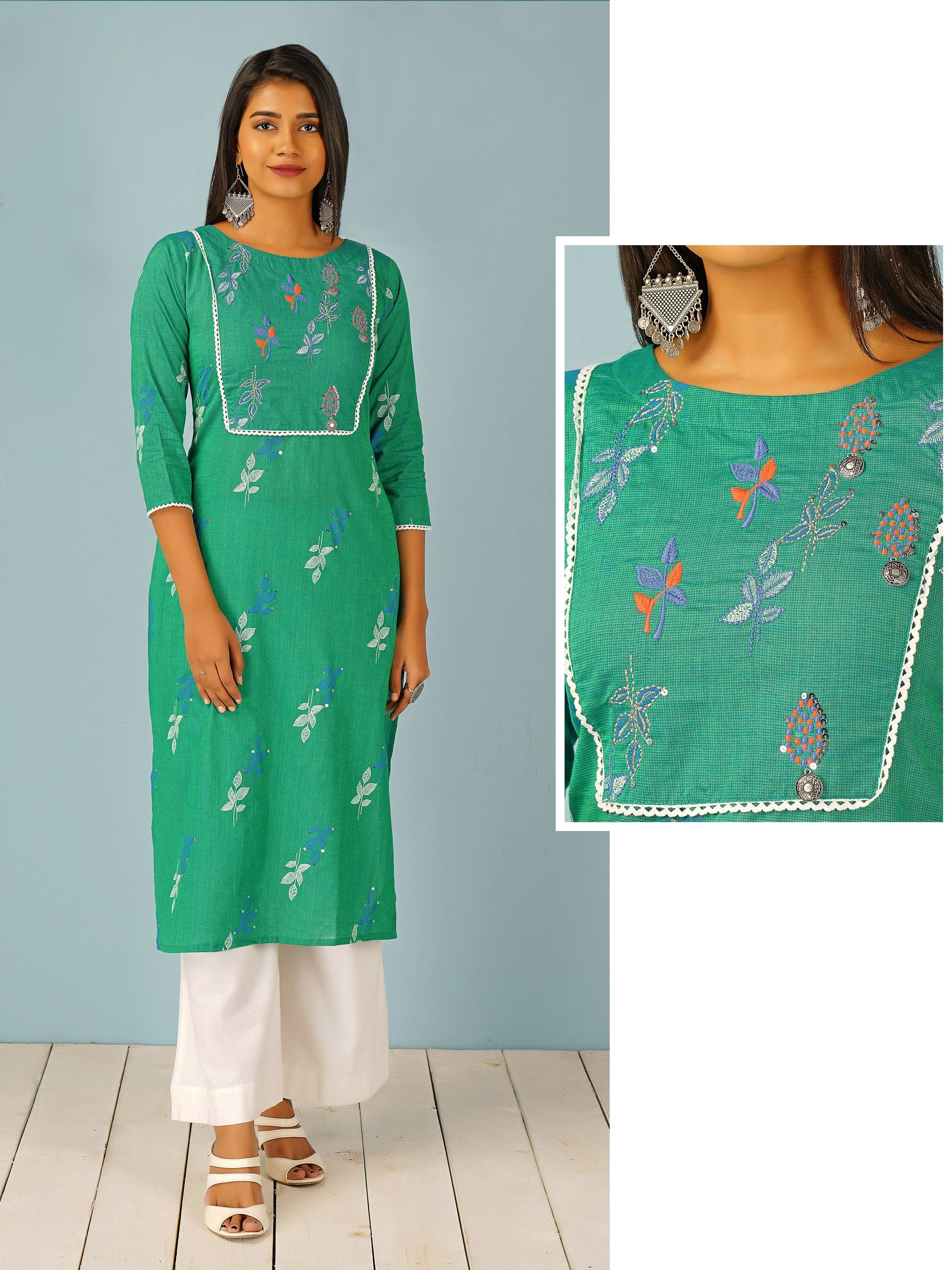 Glen Checkered & Leaf Printed Cotton Kurti