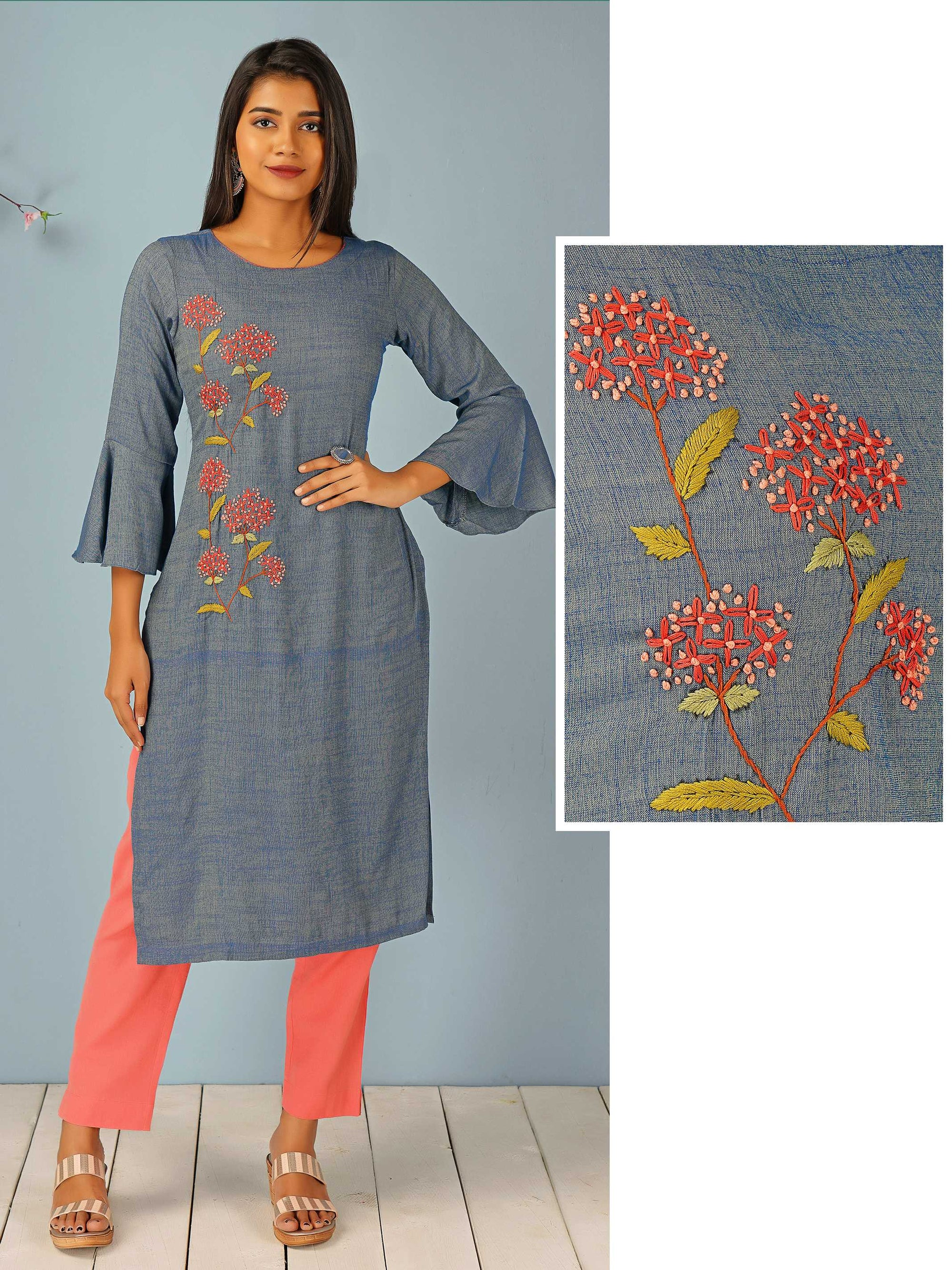 French Knot & Embossed Embroidered Kurti