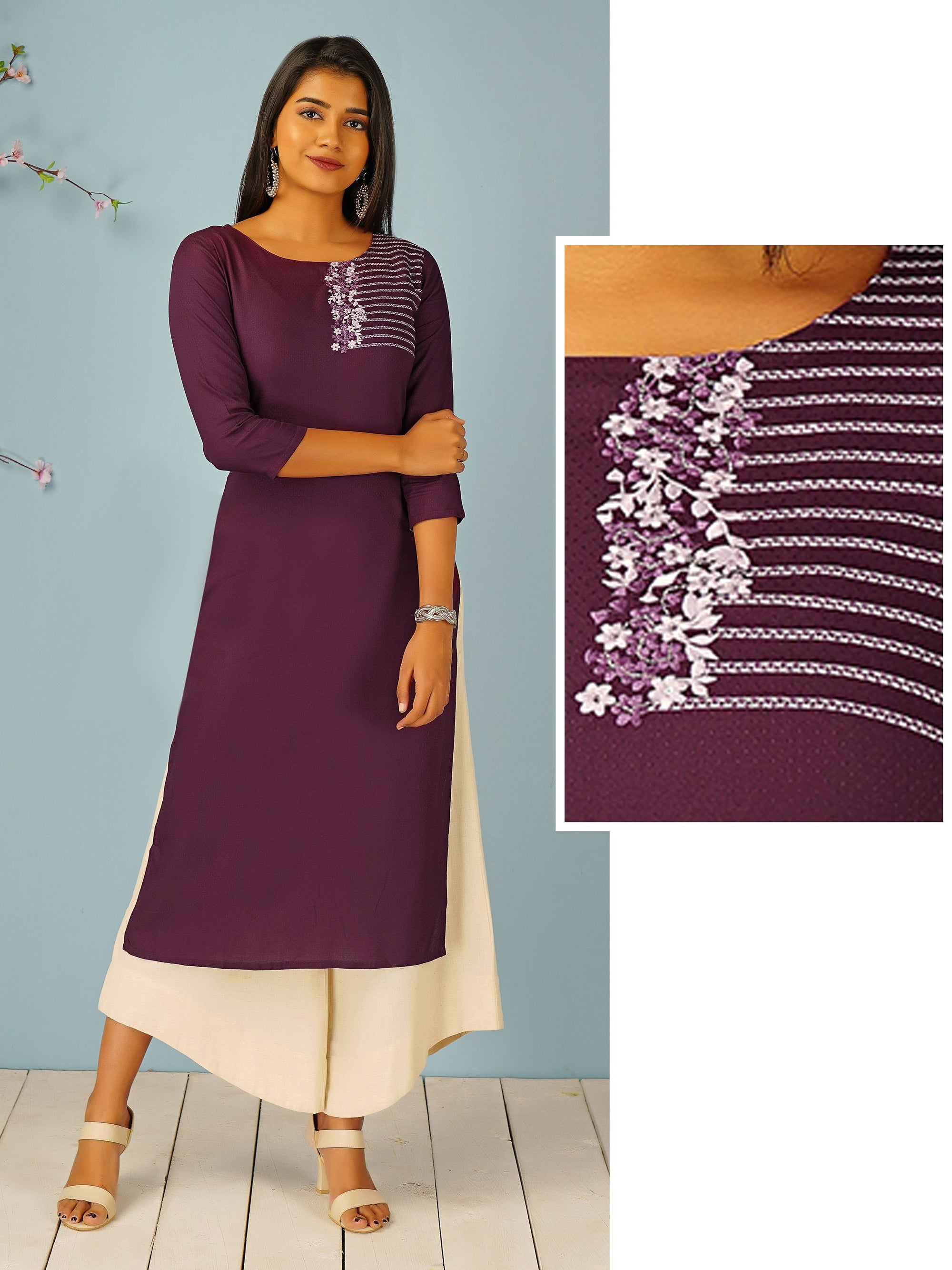 Ditsy Floral Embroidered & Self Designed Kurti