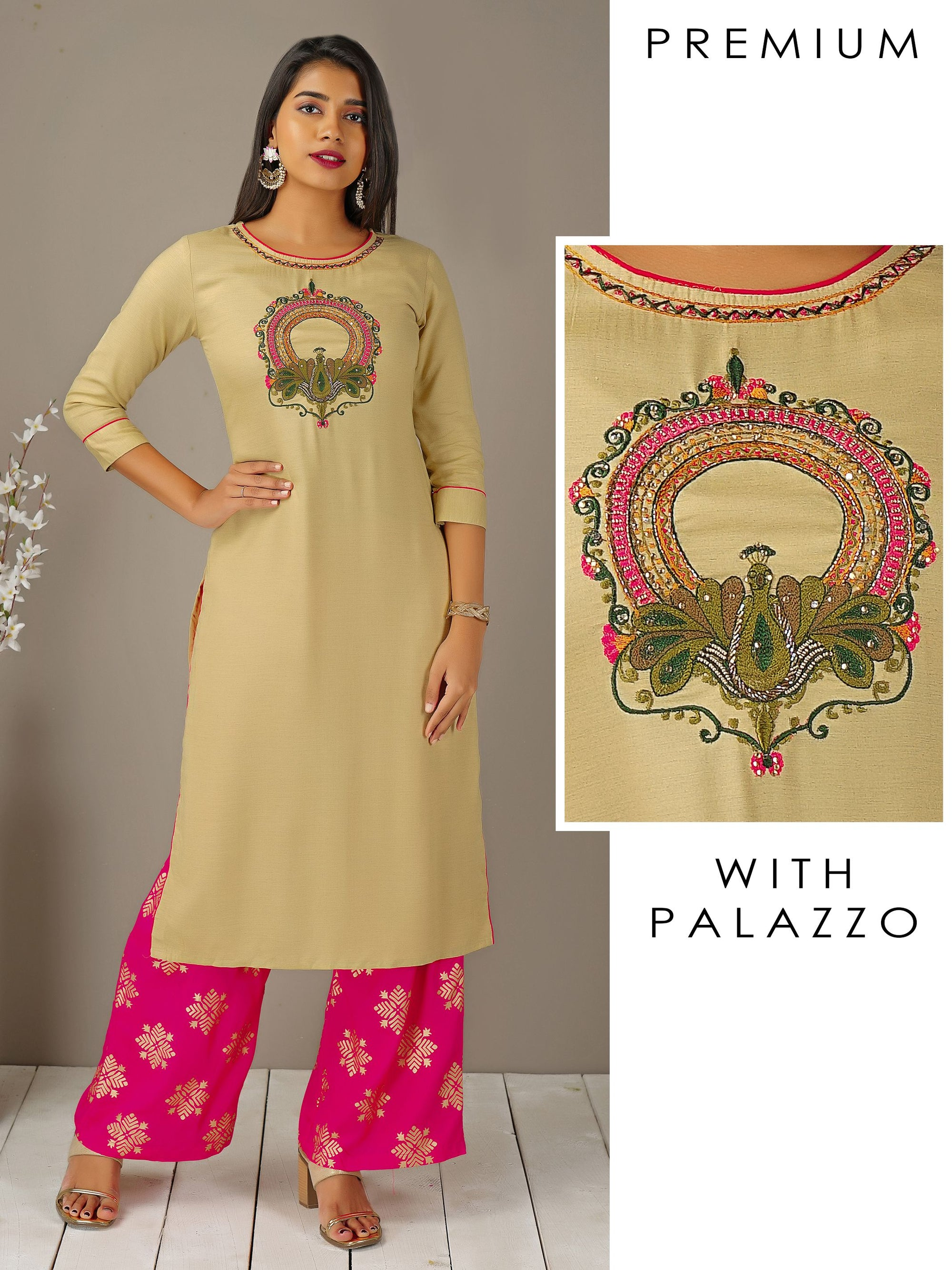 Peacock Embroidered Kurti & Khari Printed Palazzo Set