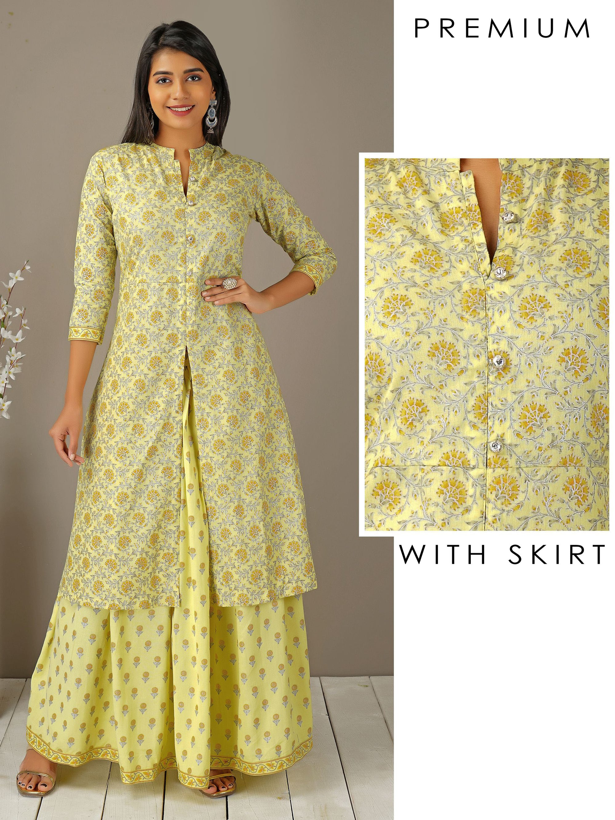 Damask Printed Kurti & Rero Floral Printed Skirt Set