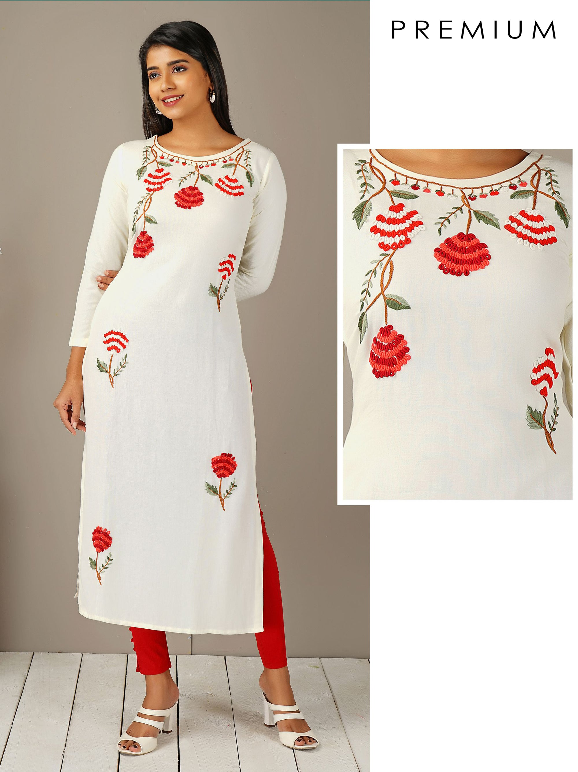 Bullion Knot Floral Embroidered Kurti