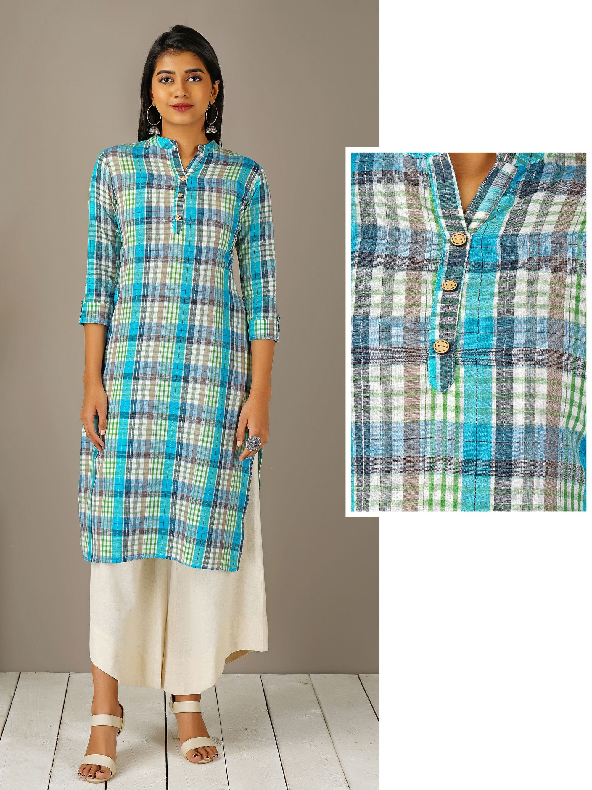 Royal Plaid Printed & Coconut Shell Buttoned Kurti – Azure Blue