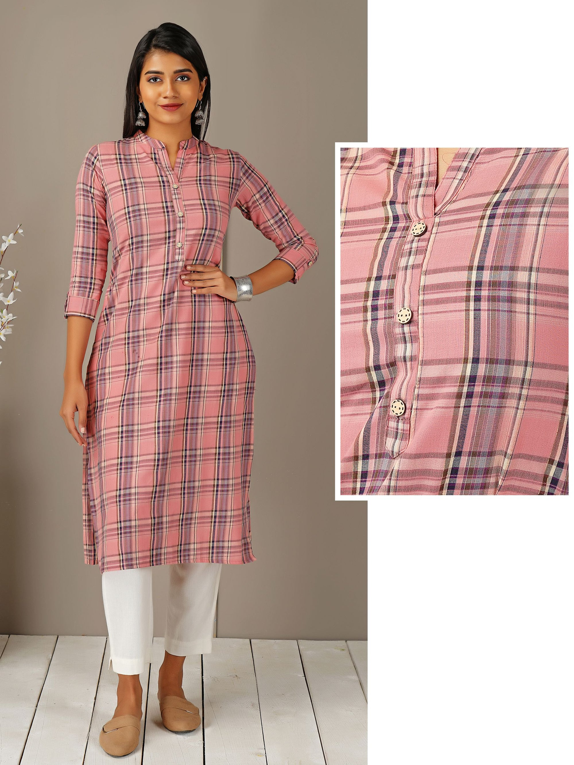 Royal Plaid Printed & Coconut Shell Buttoned Kurti - Mauve Pink