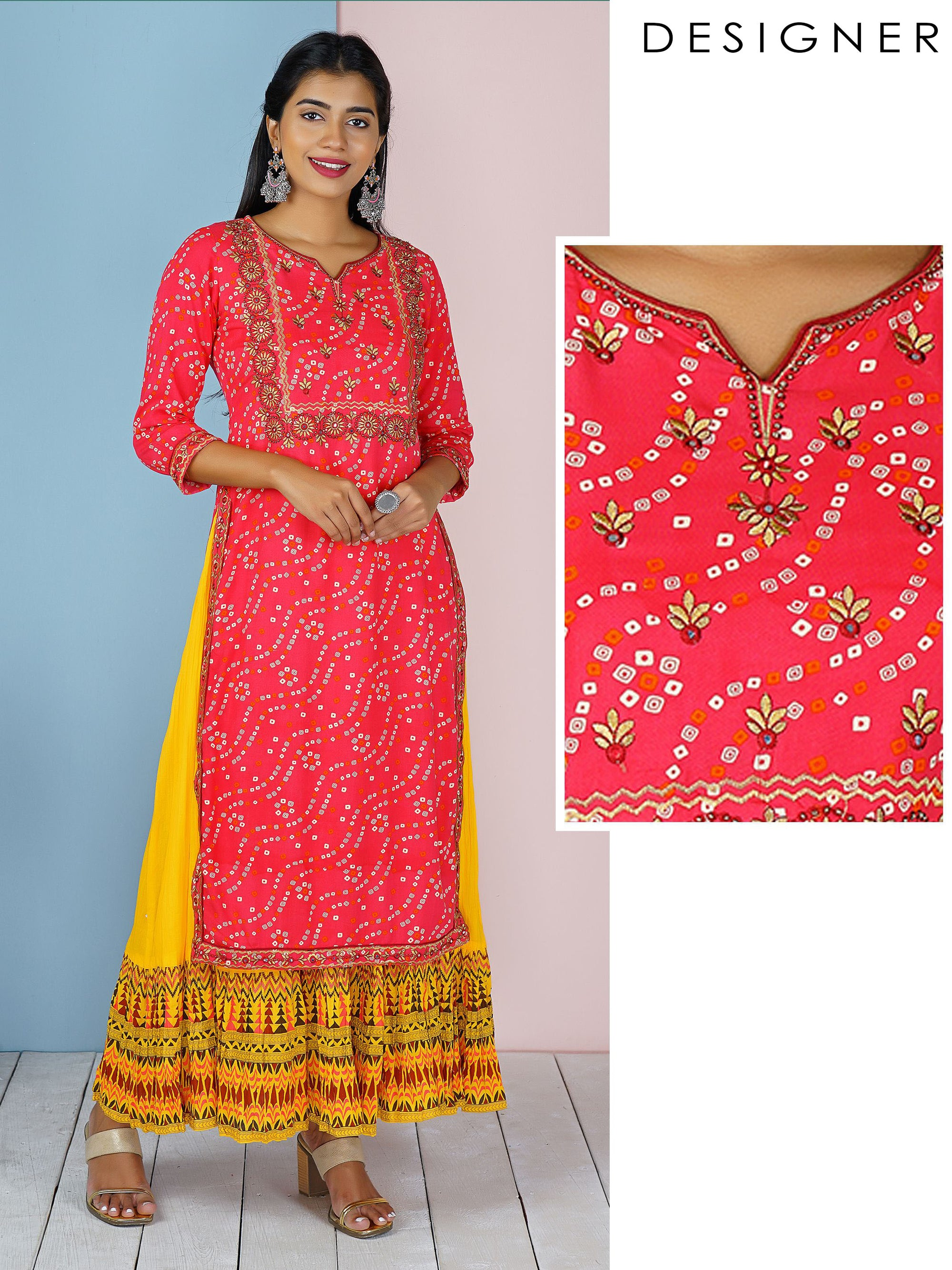 Floral Embroidered & Bandhani Printed Kurti with Attached Inner - Rani Pink