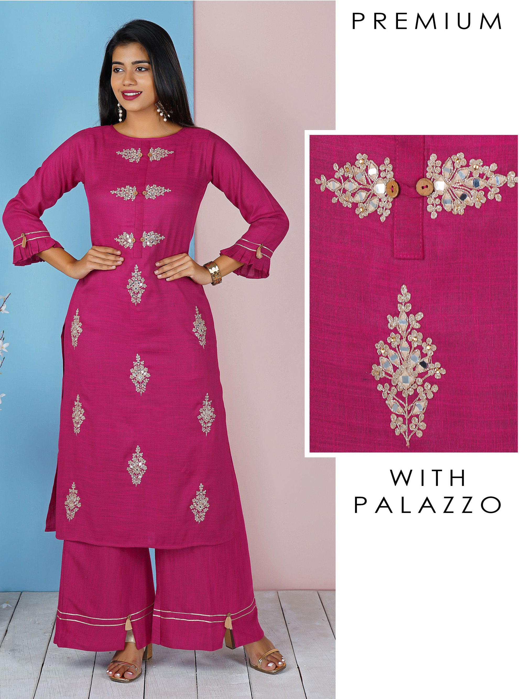 Magenta Pink Floral Embroidered With Mirror Work Kurta And Palazzo Set