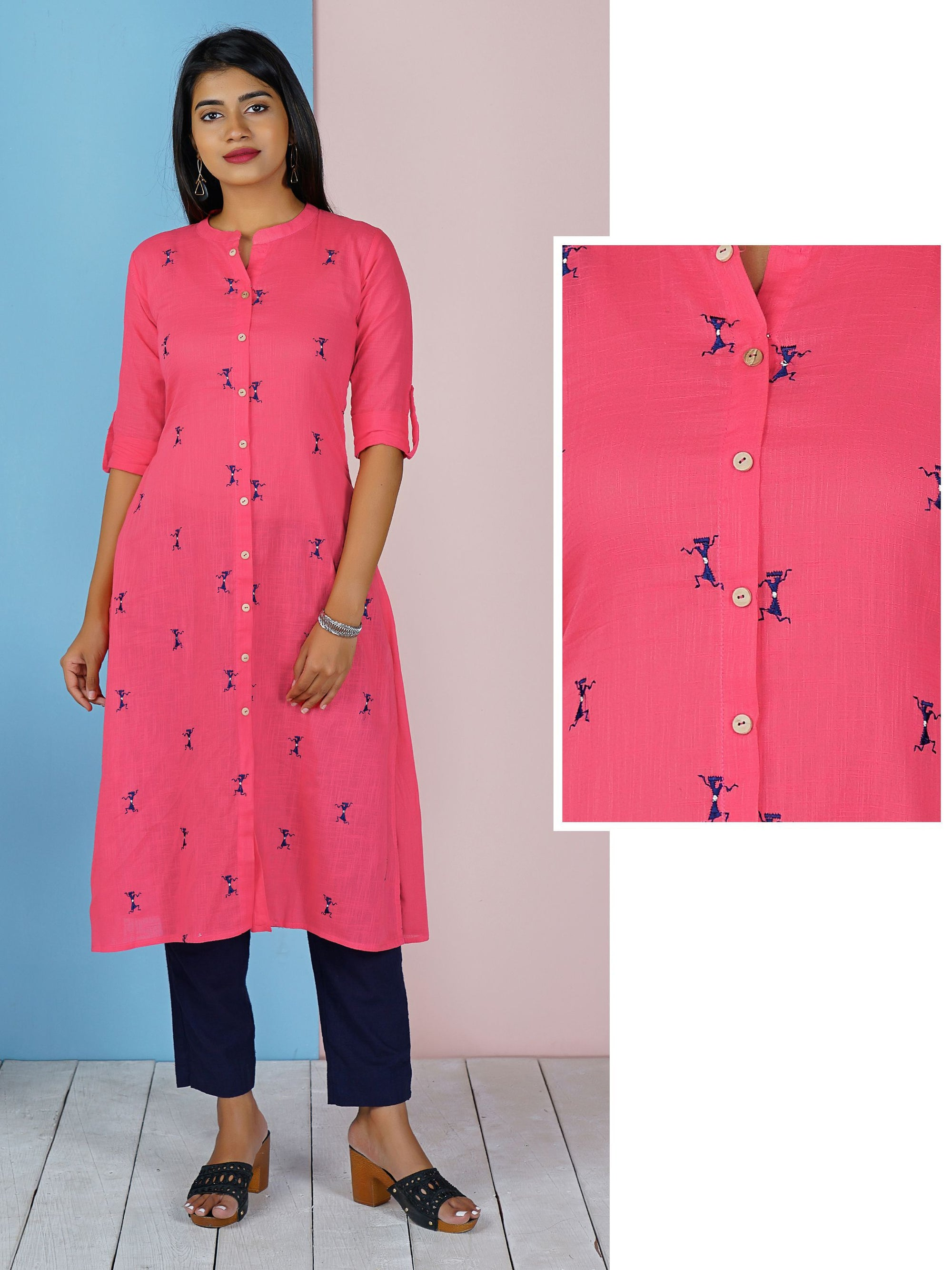 Warli Embroidered Wooden Buttoned Panel Kurti