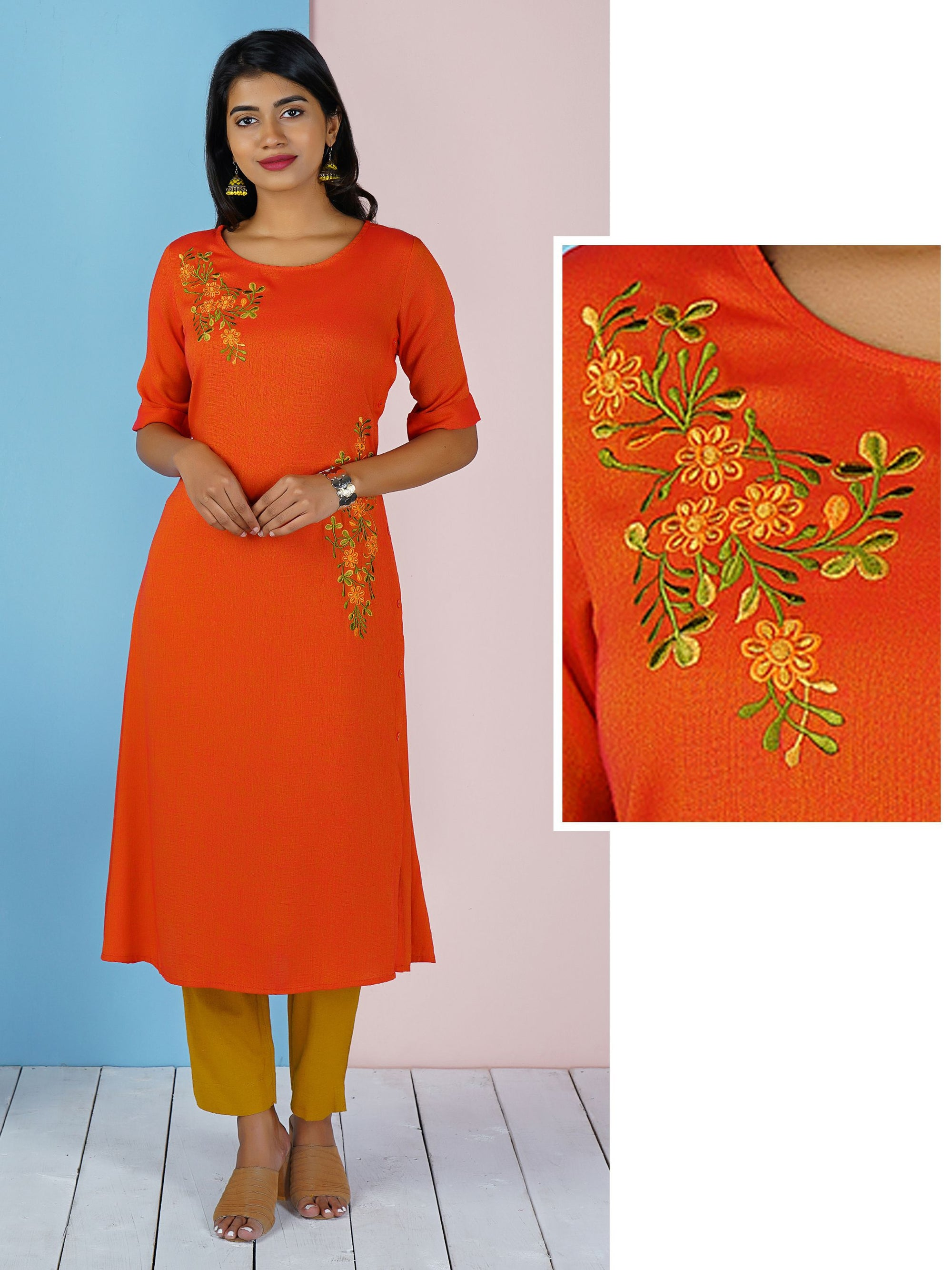 Double Shade Floral Embroidered With Side Button Kurta - Red