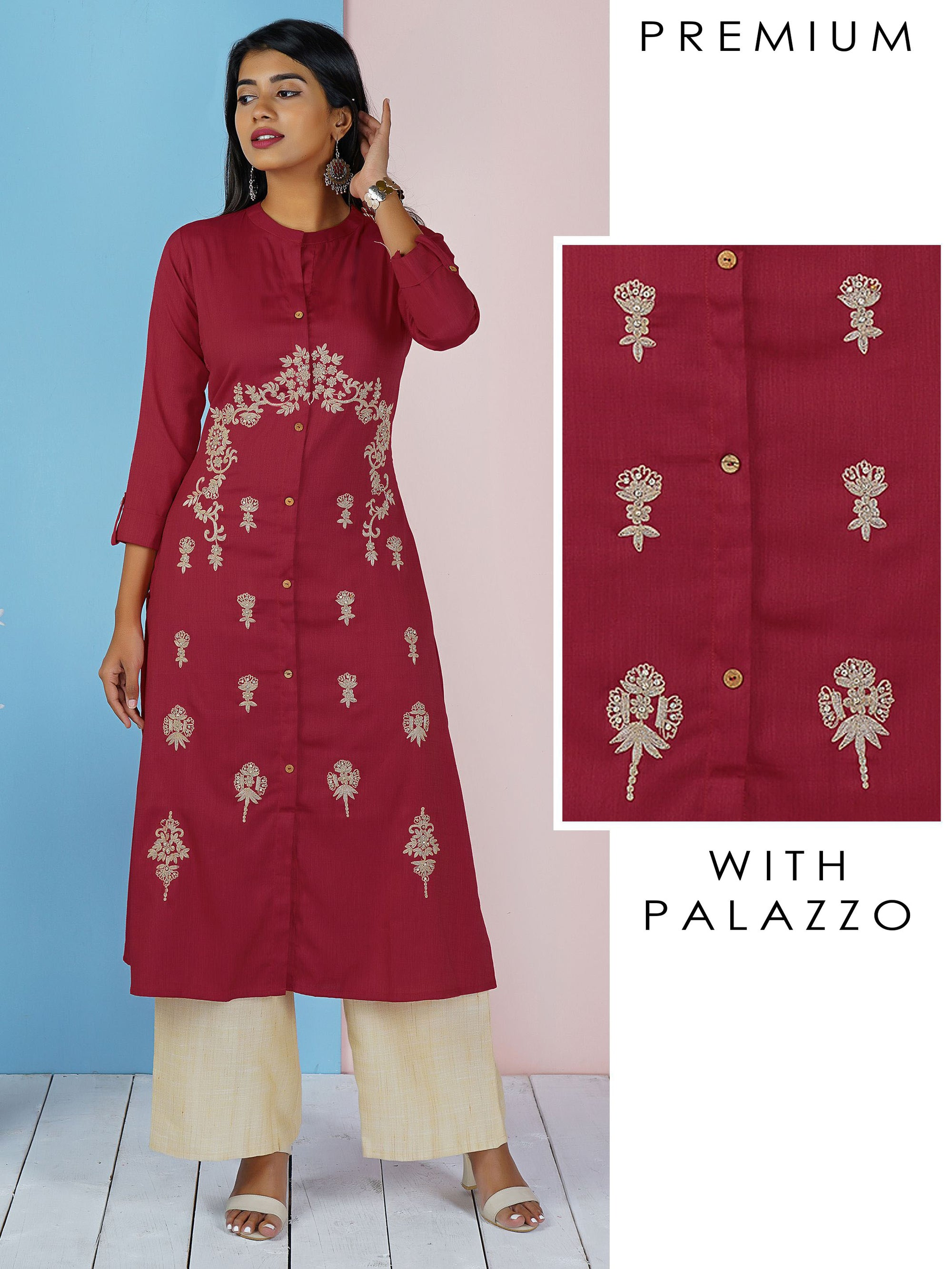 Cord Embroidered Kurti & Solid Palazzo Set