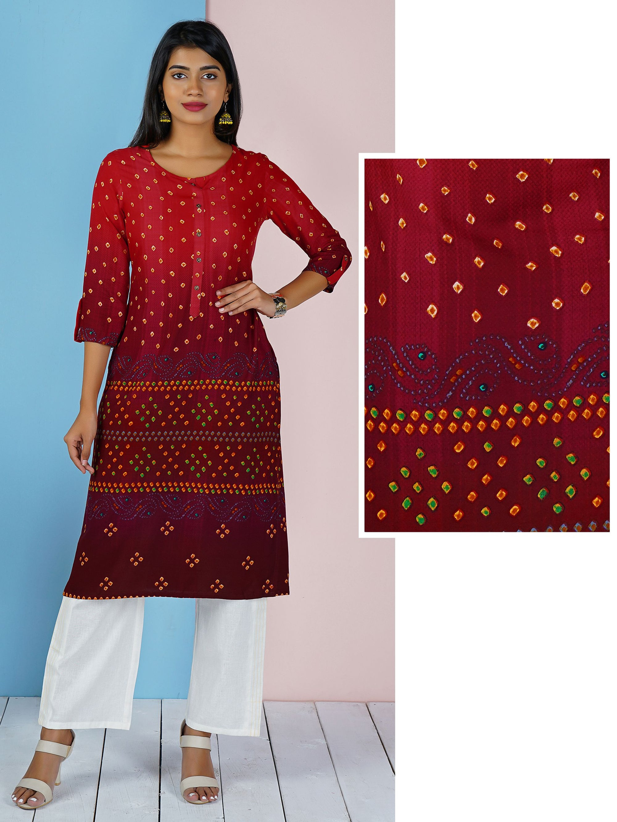 Ombre Shaded Bandhani Kurta