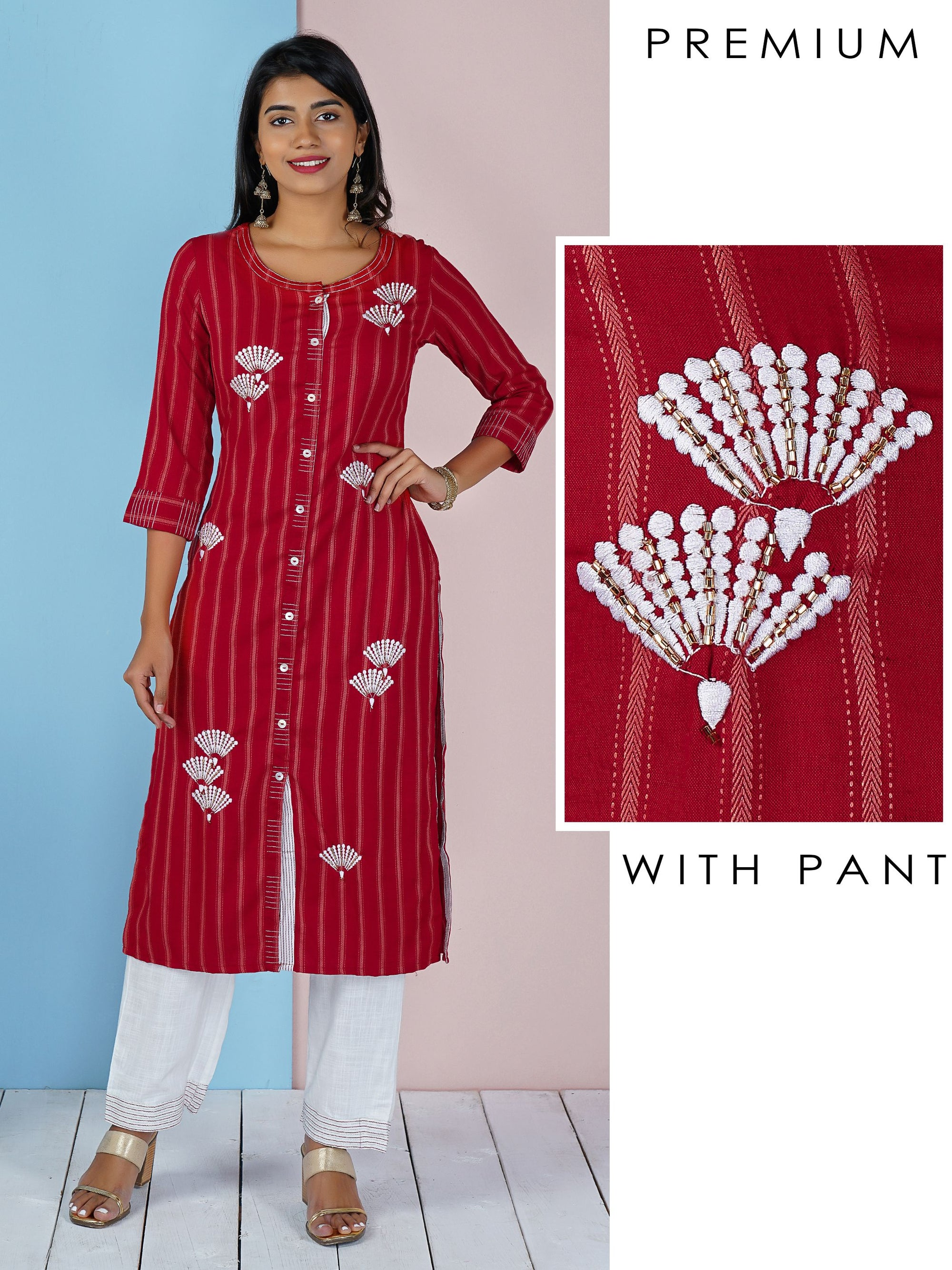 Floral Embroidered Kurti & Running Stitched Pant Set - Ruby Red