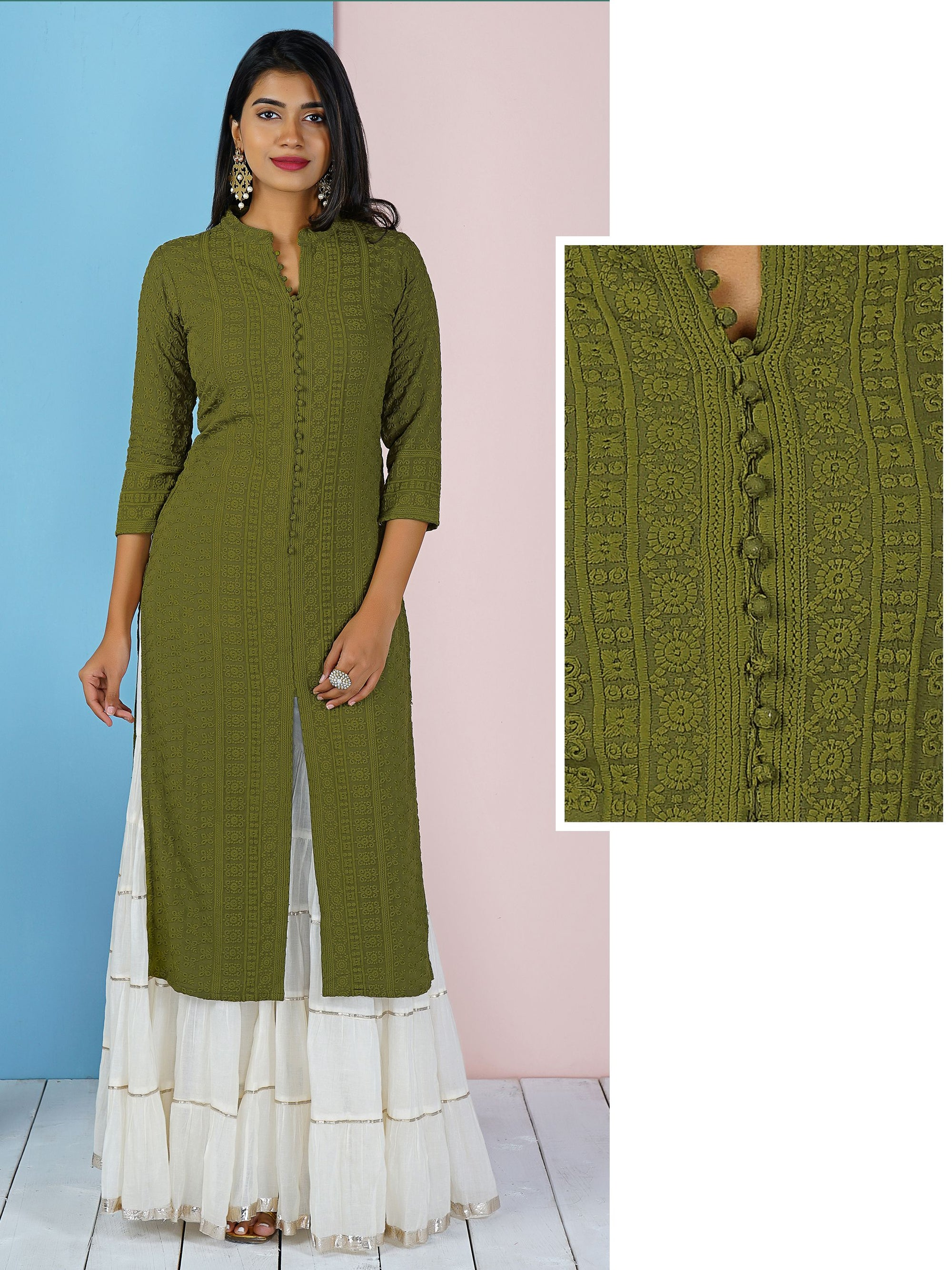 Potli Buttoned Self Embroidered Kurti - Green