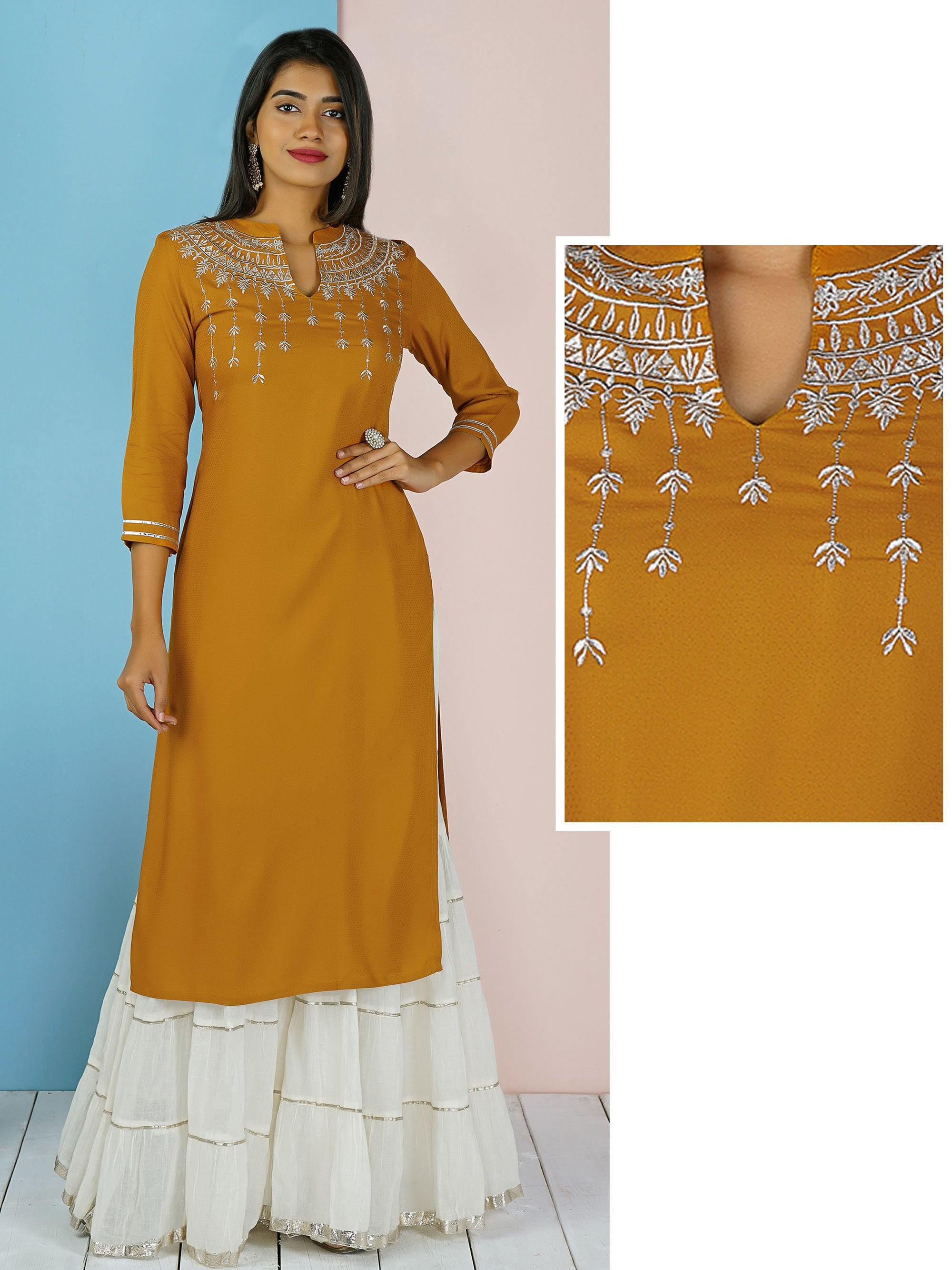 Silver Zari Embroidered Self Printed Kurti