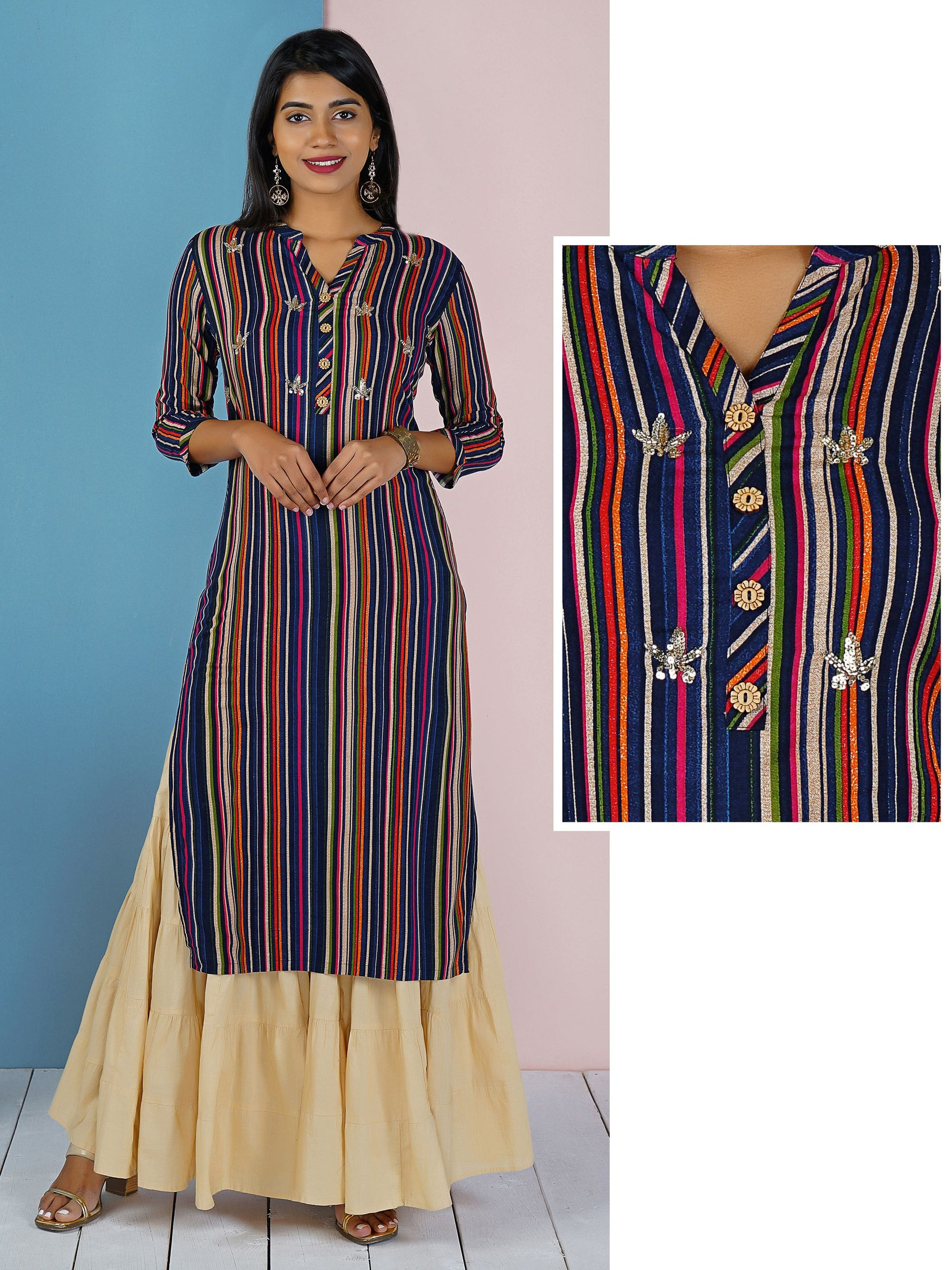 Multi Color Striped Sequins & Cut-dana Kurti – Navy Blue