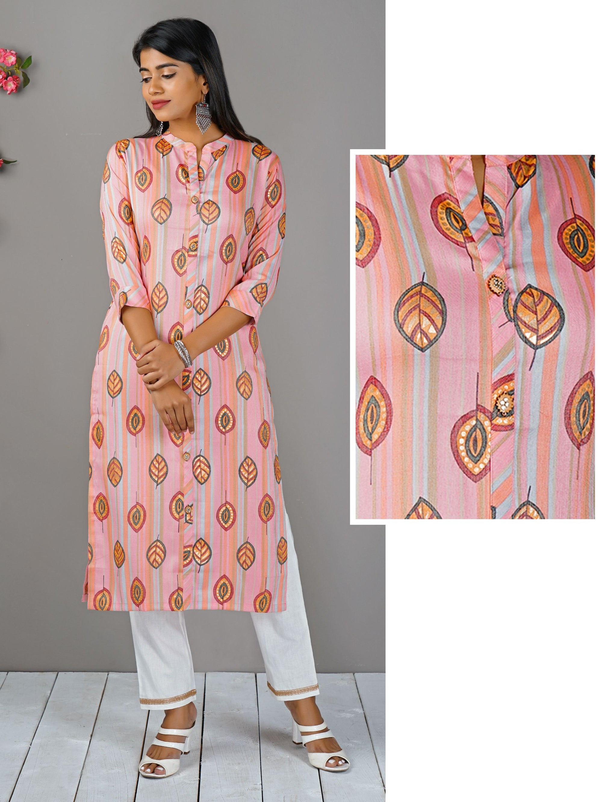 Multi Color Striped & Leaf Printed Kurti