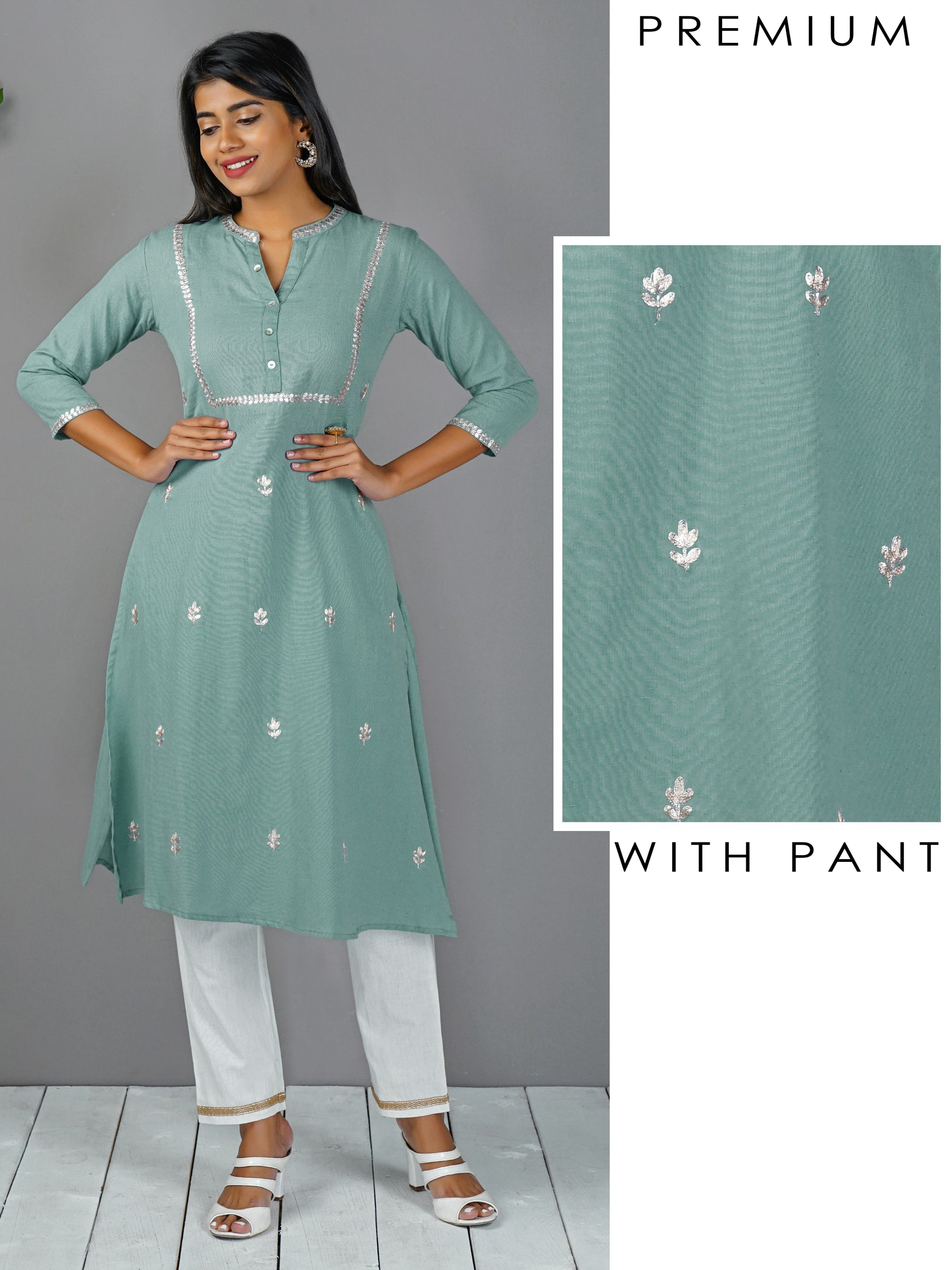 Gota Embroidered Kurta With Golden Border Pant - Powder blue