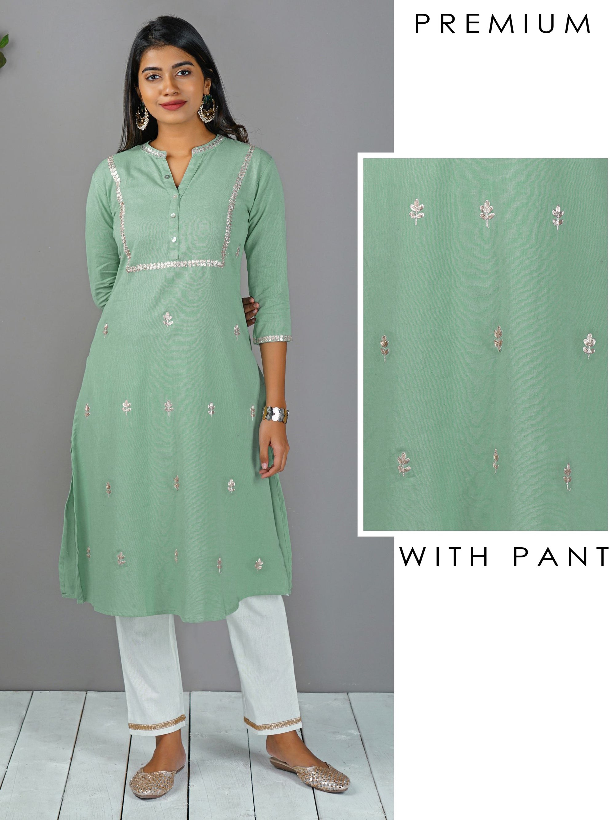 Gota Embroidered Kurta With Golden Border Pant - Powder Green