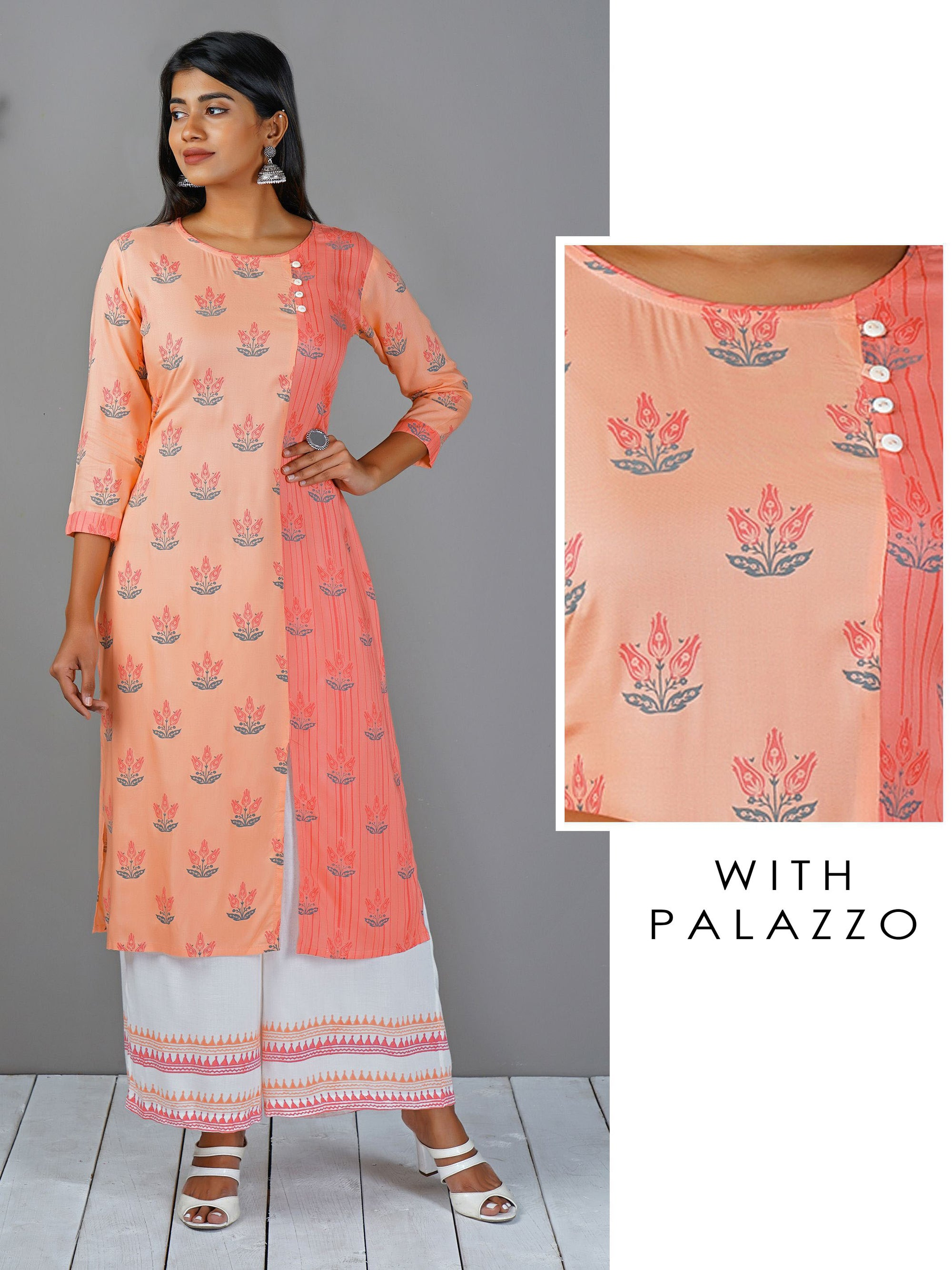 Peach Pink Floral Printed Kurta And Aztec Printed Palazzo Set