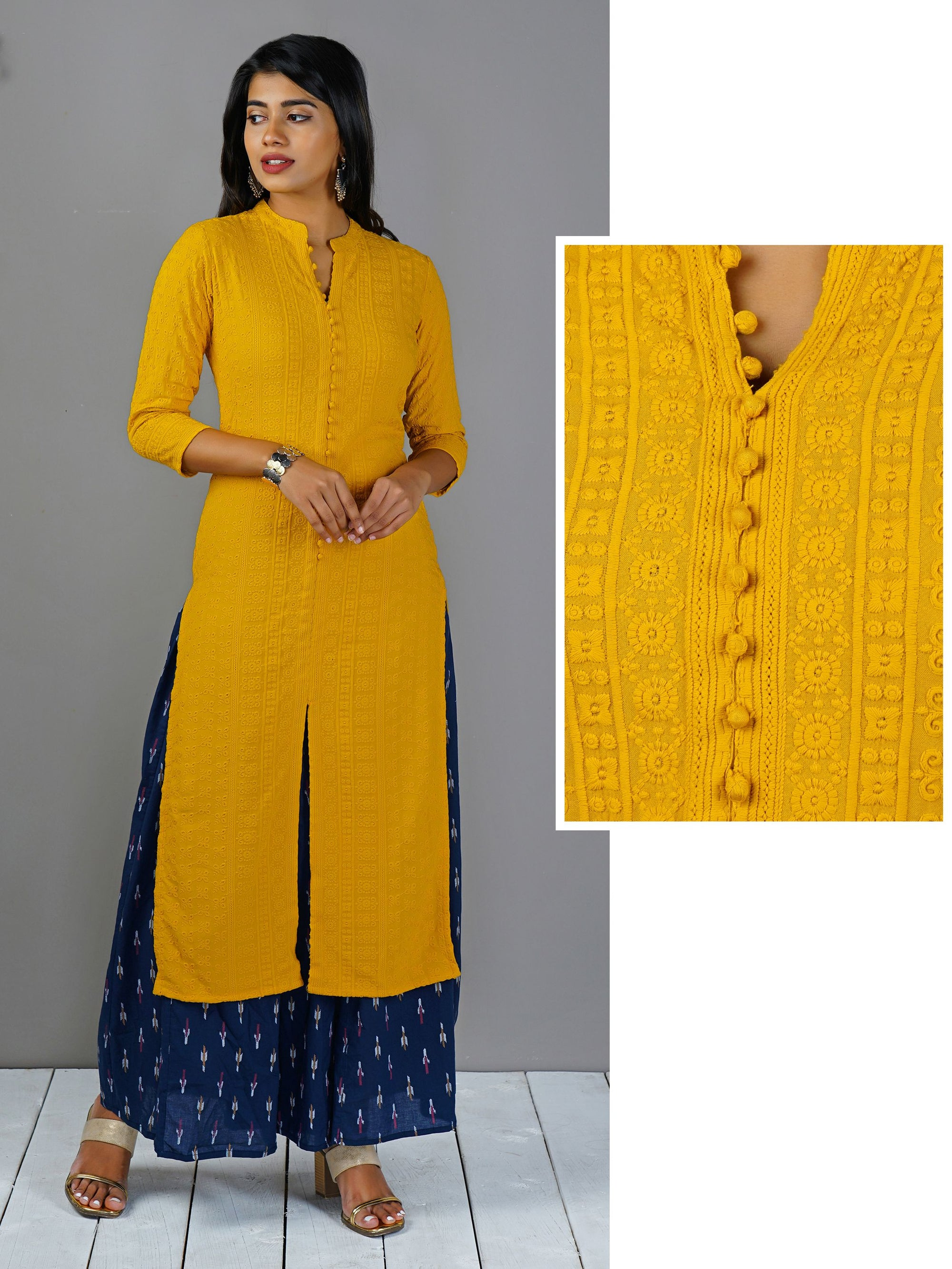 Potli Buttoned Self Embroidered Kurti