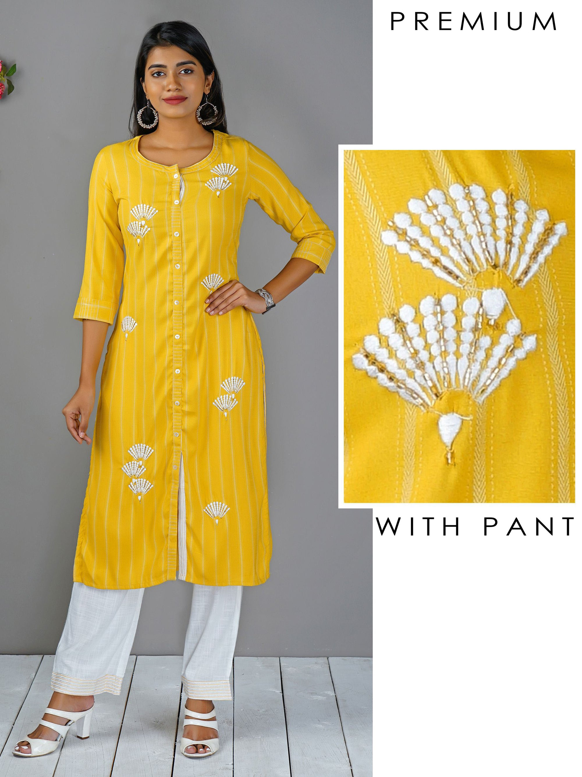 Floral Embroidered Kurti & Running Stitched Pant Set
