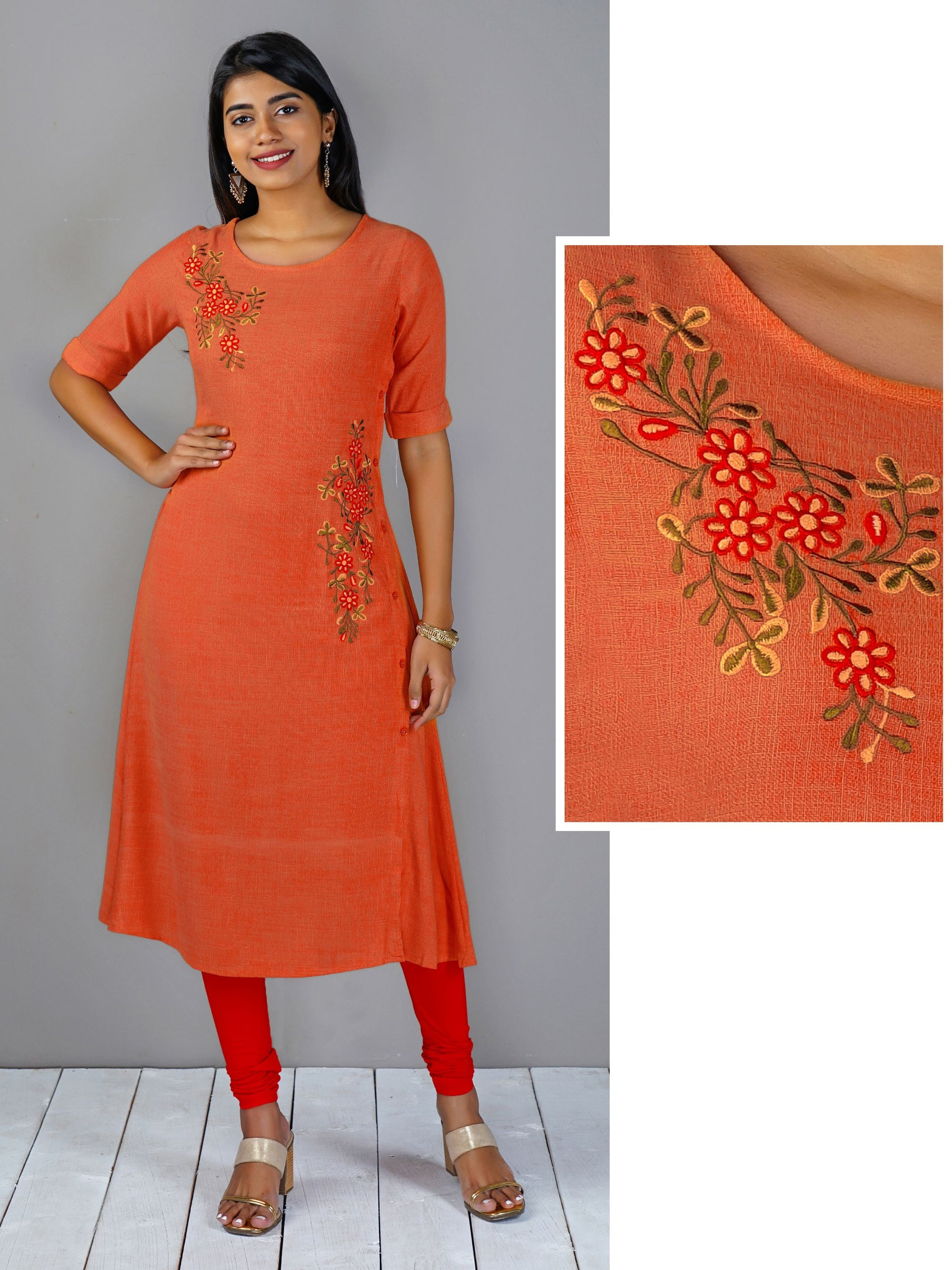 Double Shade Floral Embroidered With Side Button Kurta - Orange