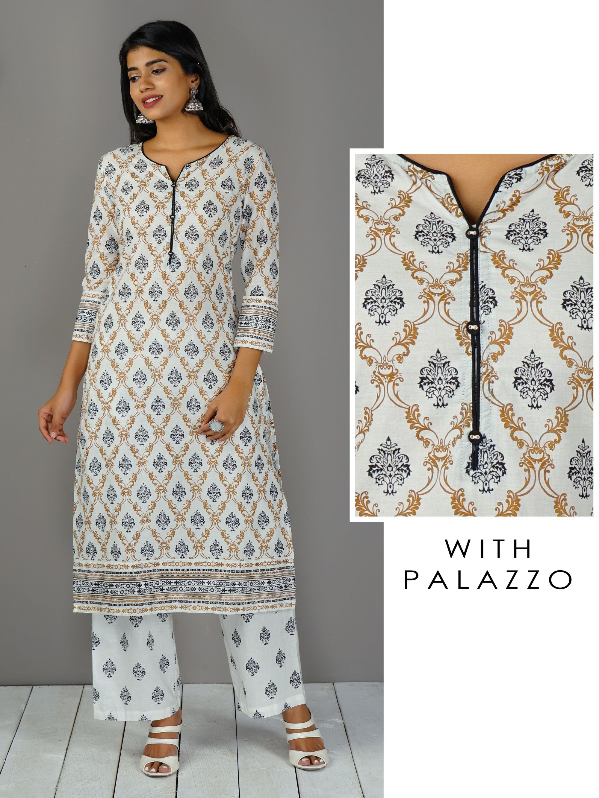Repeat Motif Kurta And Palazzo Set