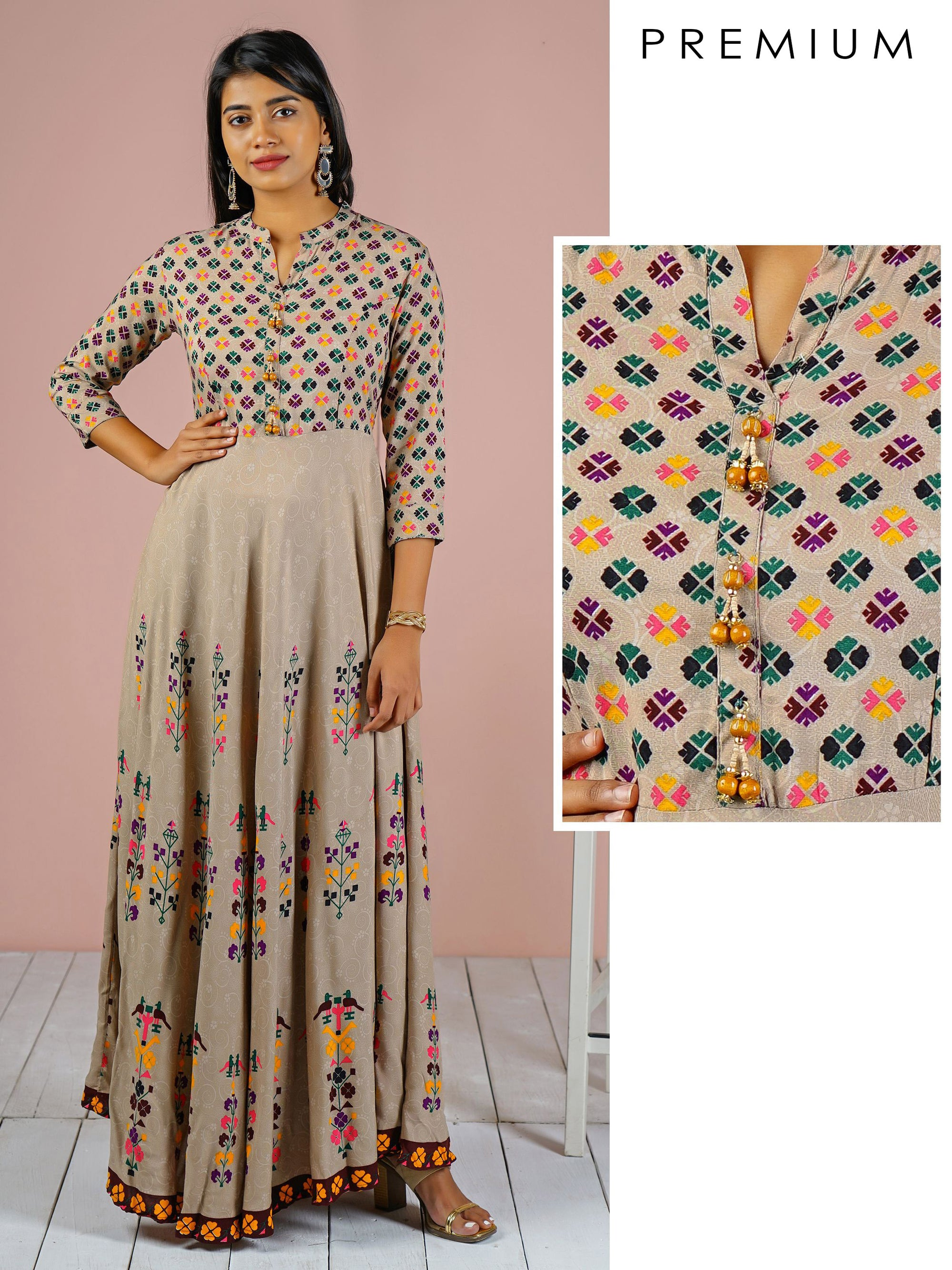 Quirky Printed Bias Cut Maxi