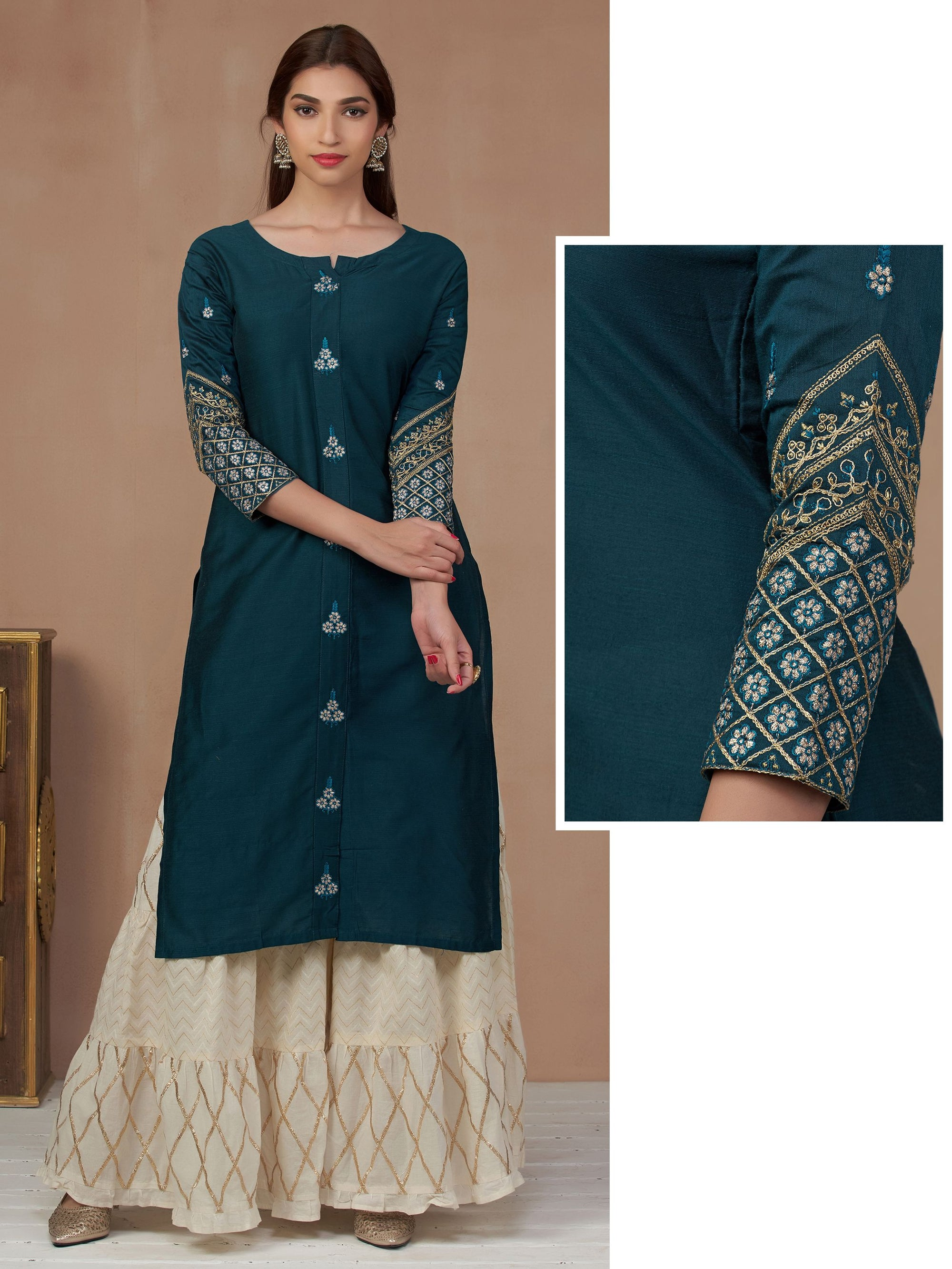 Floral Zari & Cord Embroidered Silk Kurti