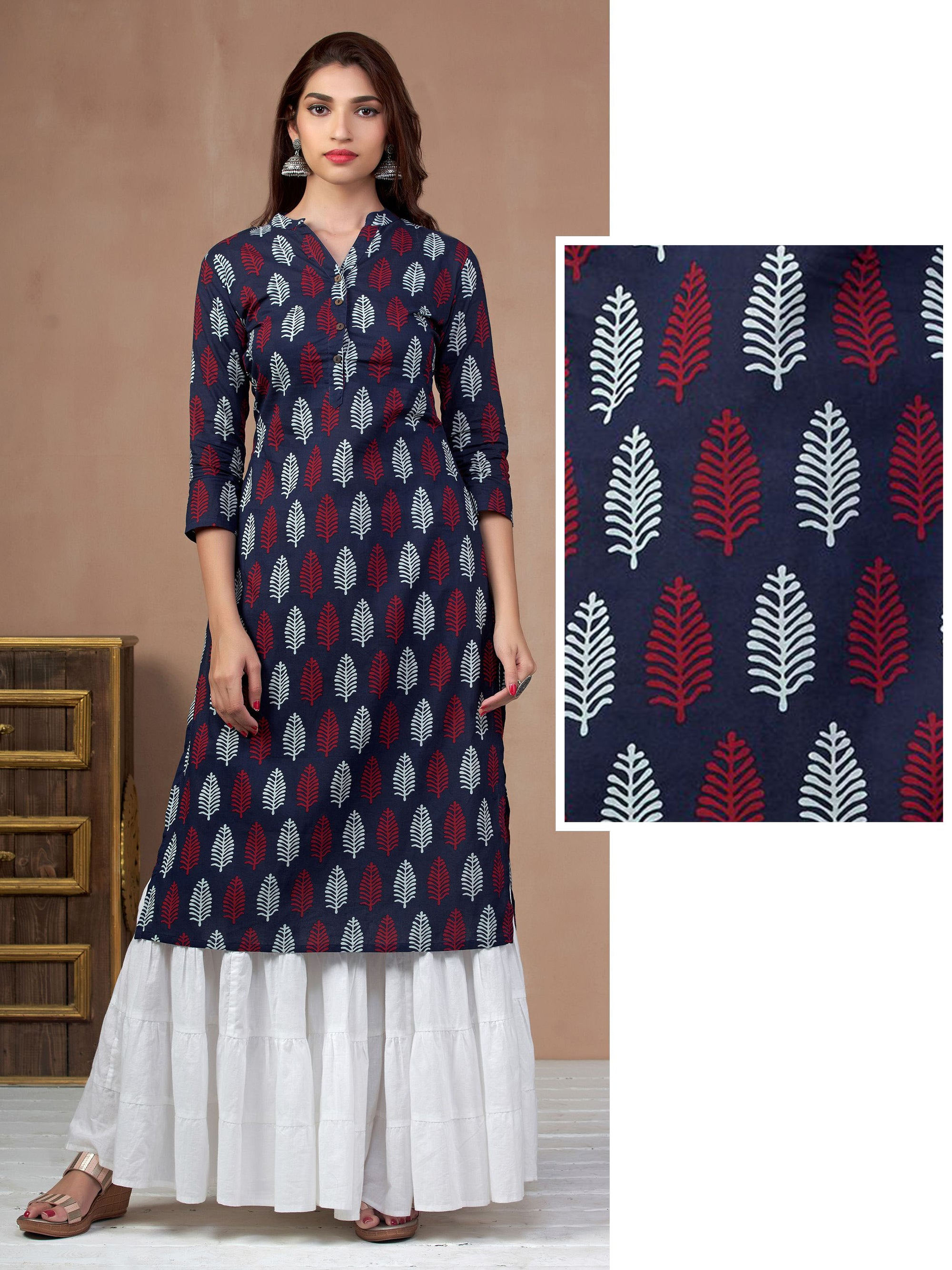Pinnate Leaf Printed & Coconut Shell Buttoned Kurti