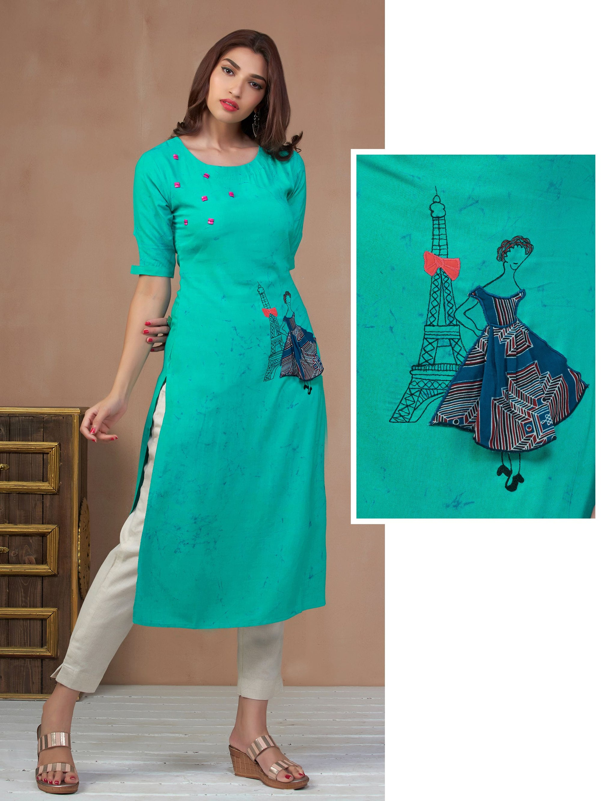 Eiffel Tower Embroidered & Marble Printed Kurti