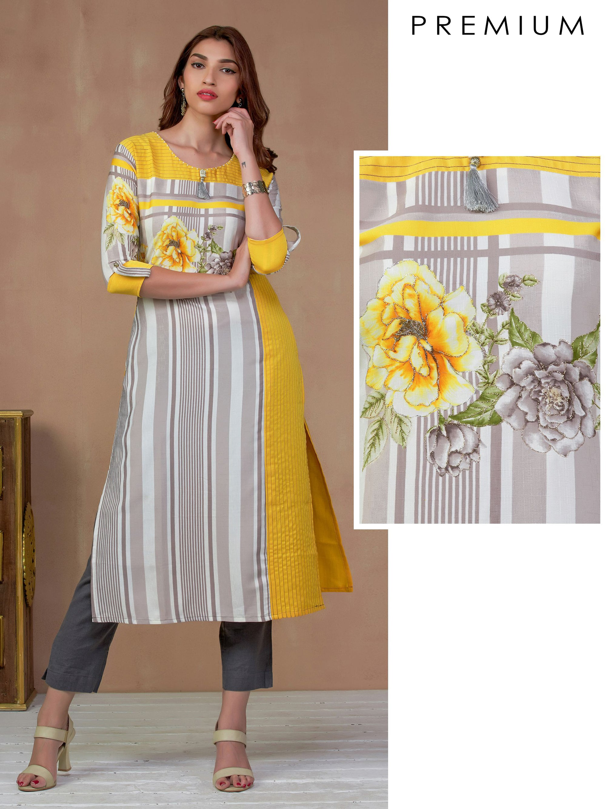 Zari Floral Embroidered Bengal Striped Kurti