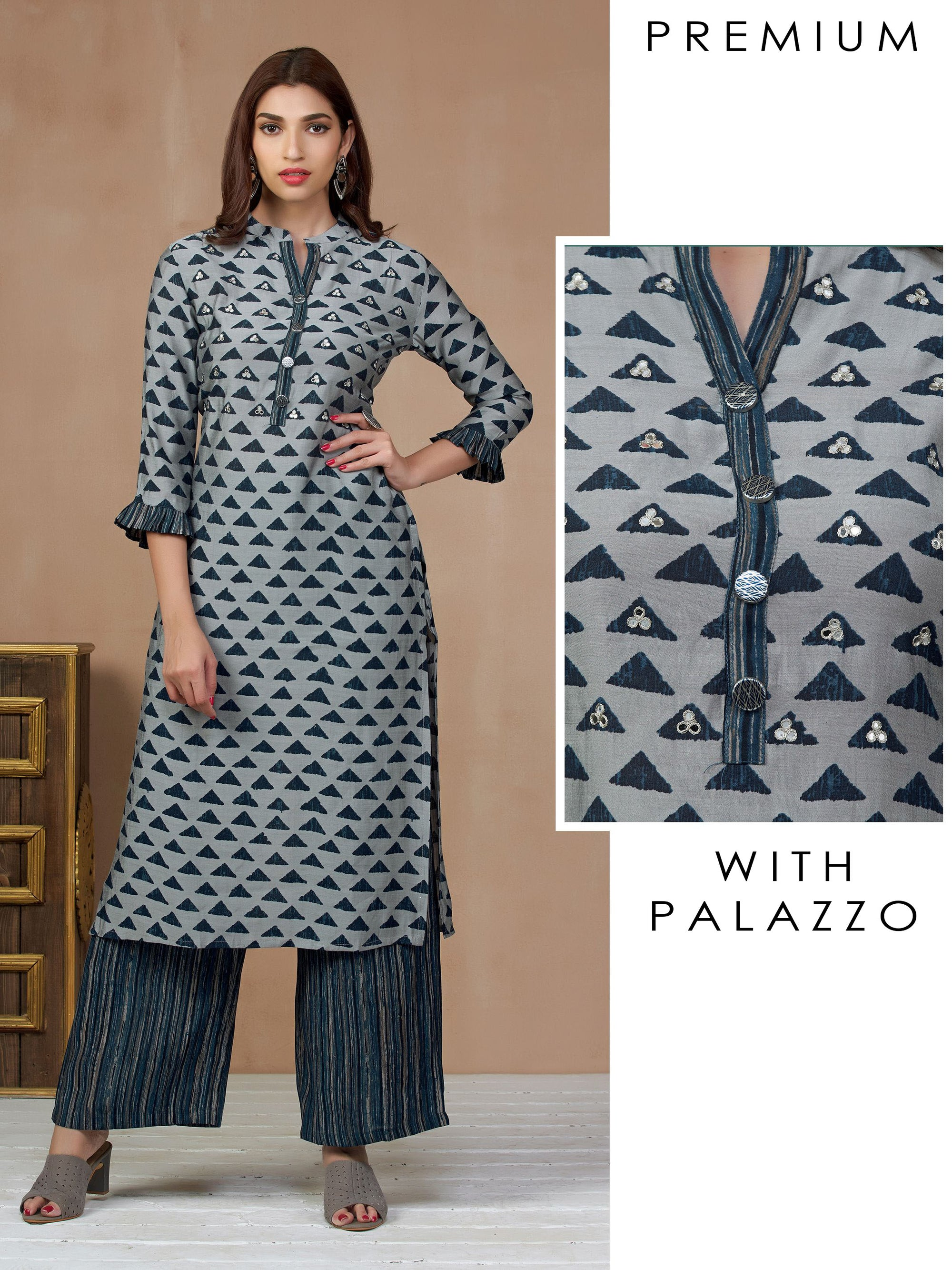 All Over Printed & Foil Mirror detail Kurti Palazzo Set