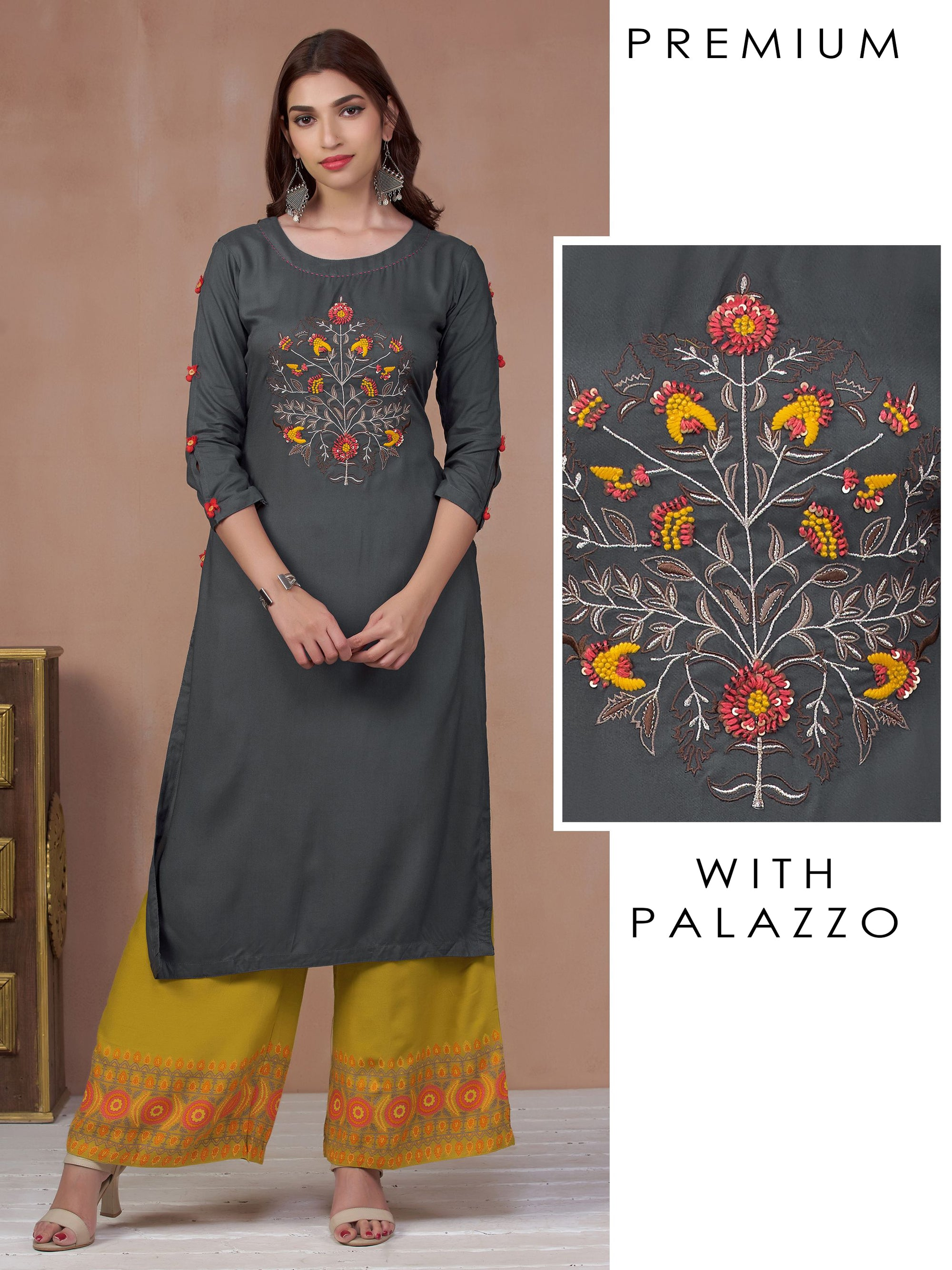 Palmette Motif Embroidered Kurti & Wreath Printed Palazzo Set